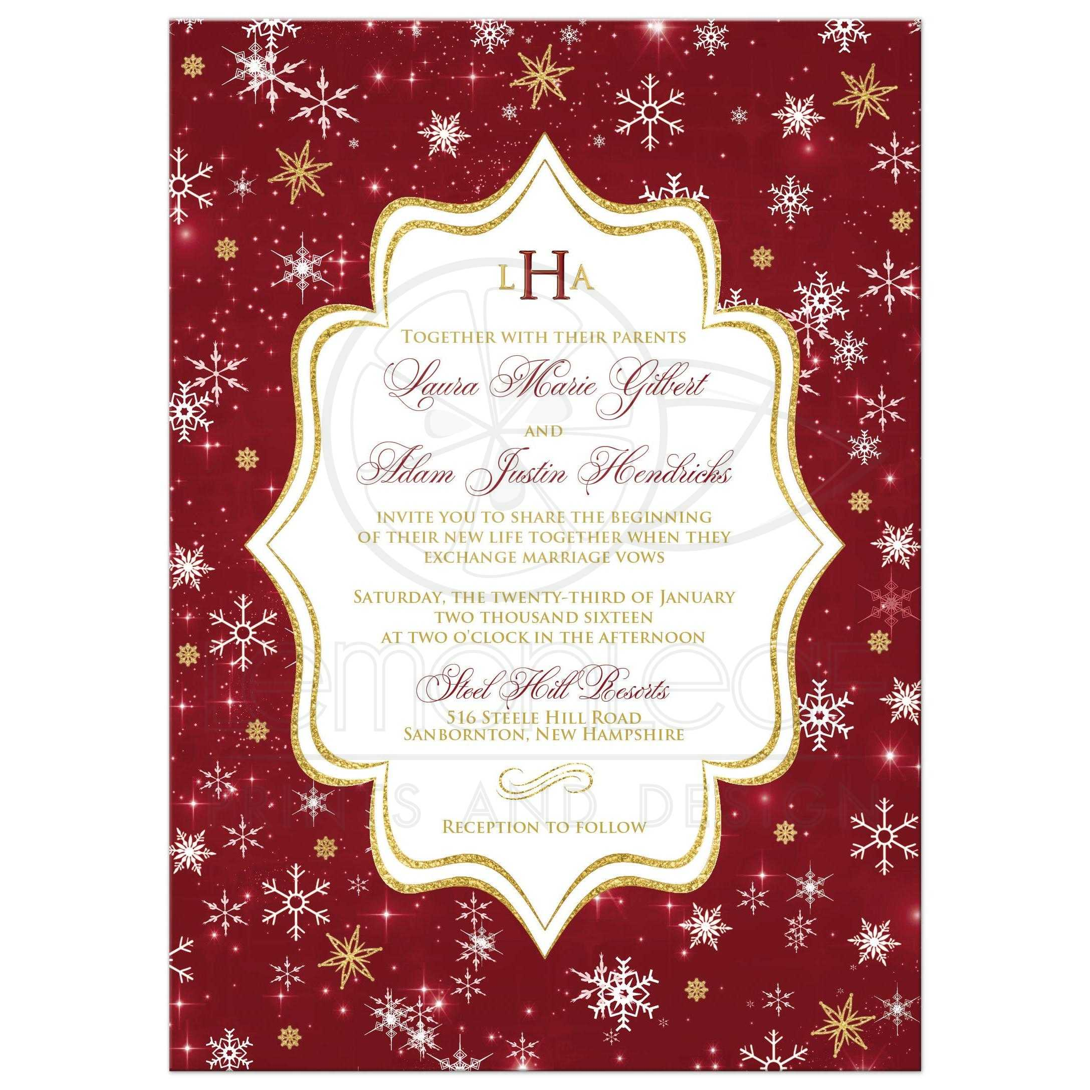 Monogrammed Wedding Invitation | Cranberry, Gold, White Snowflakes ...