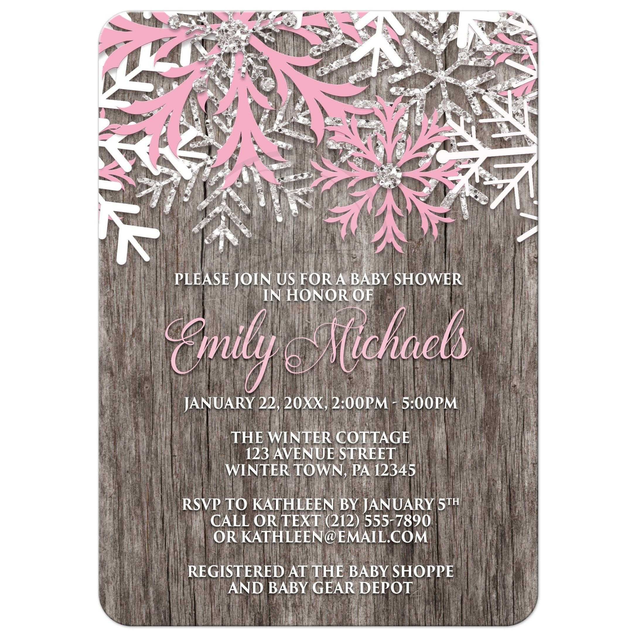 Baby Shower Invitations   Pink Snowflake Rustic Winter Wood