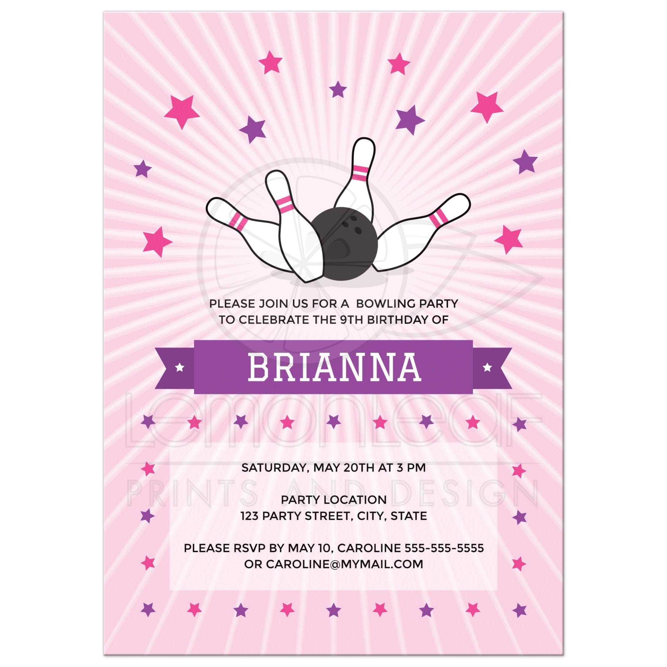 Bowling birthday party invitation pink ball knocking down pins on pink bowling party invitation for girls with bowling ball knocking down pins filmwisefo
