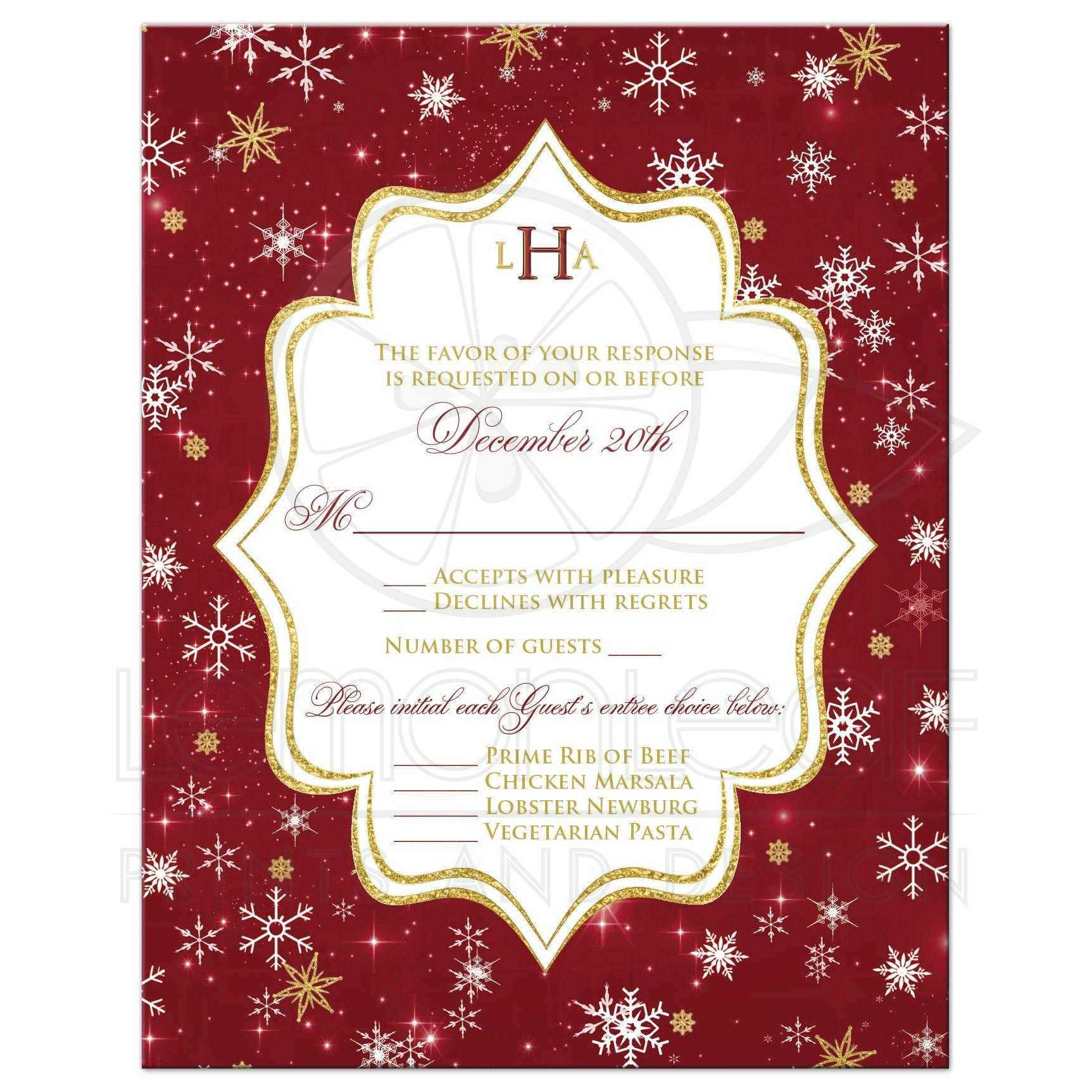Monogrammed Wedding RSVP Card | Cranberry, Gold, White Snowflakes, Stars