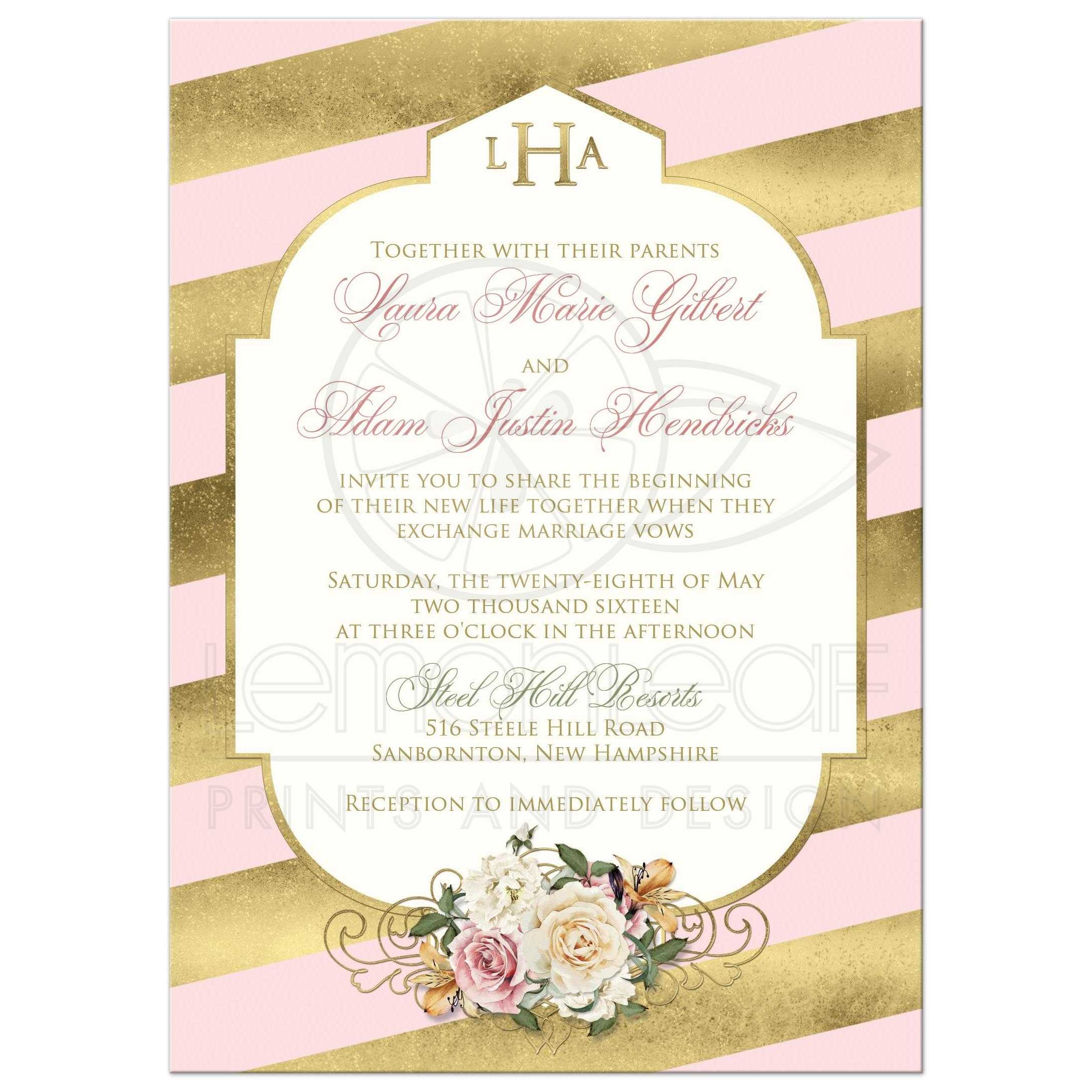 Great Monogrammed Blush Pink And Gold Striped Art Deco Wedding Invitation With Ivory Roses: Ivory Deco Wedding Invitations At Websimilar.org