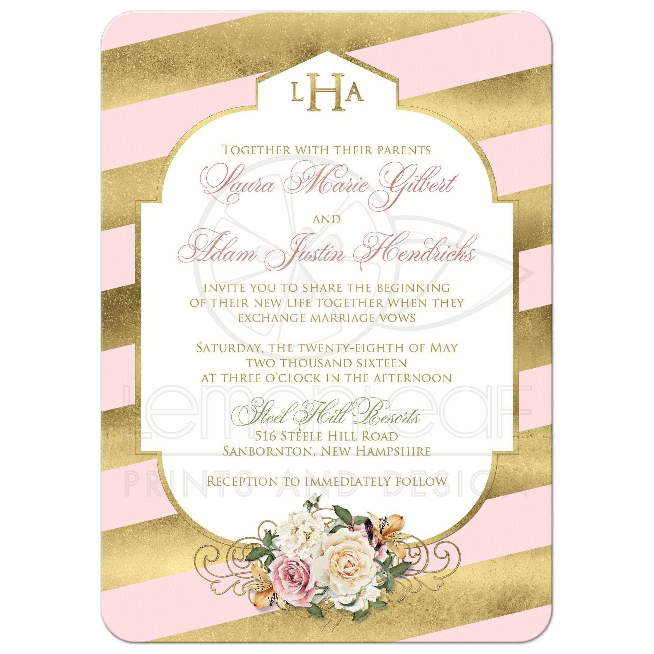 Monogrammed Wedding Invitation Blush Pink Faux Gold Scroll
