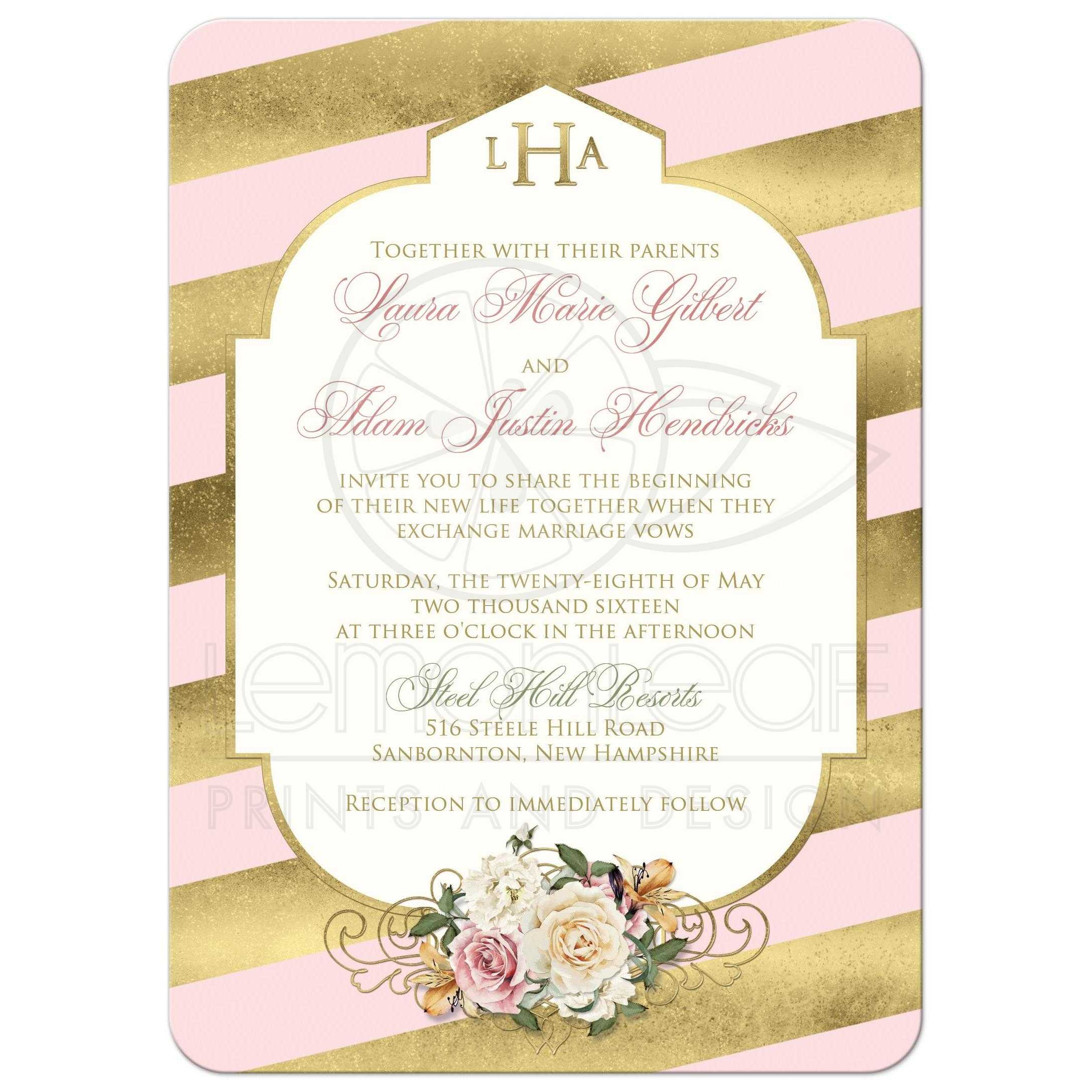 Monogrammed Wedding Invitation | Blush Pink, Faux Gold, Scroll ...