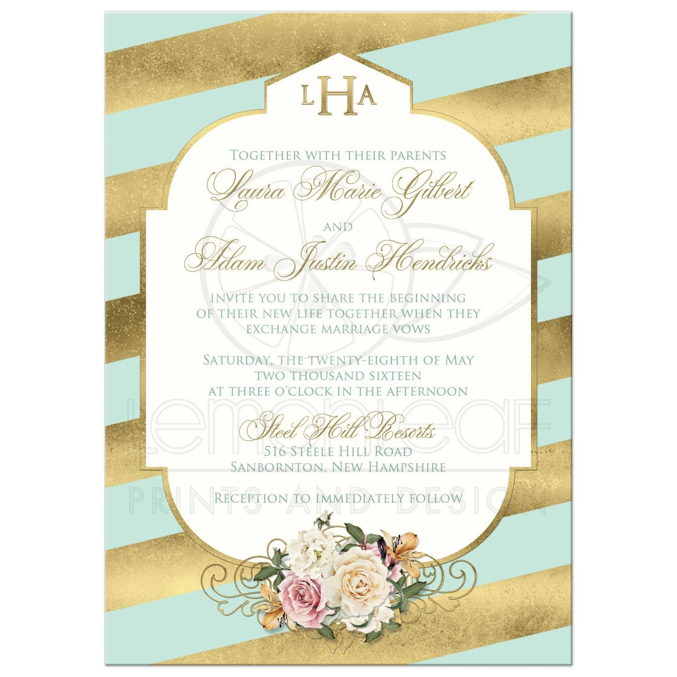 Great Monogrammed Mint Green And Gold Striped Art Deco Wedding Invite With  Ivory And Pink Roses ...
