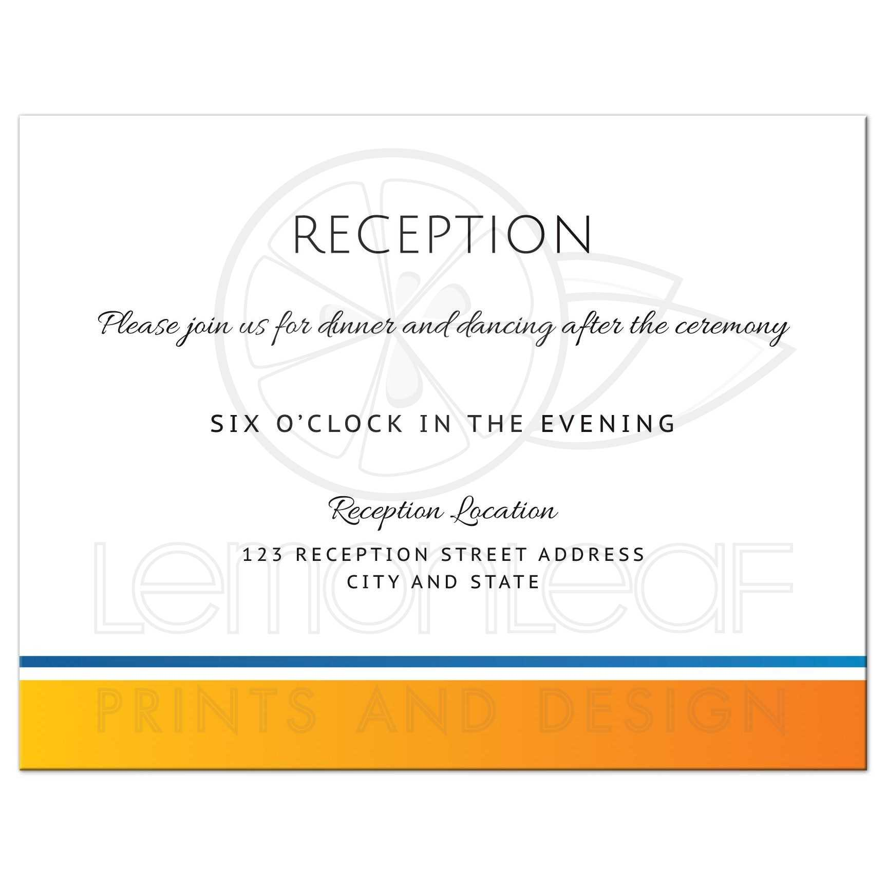 modern wedding reception card with yellow orange and blue border matching the sun and wave