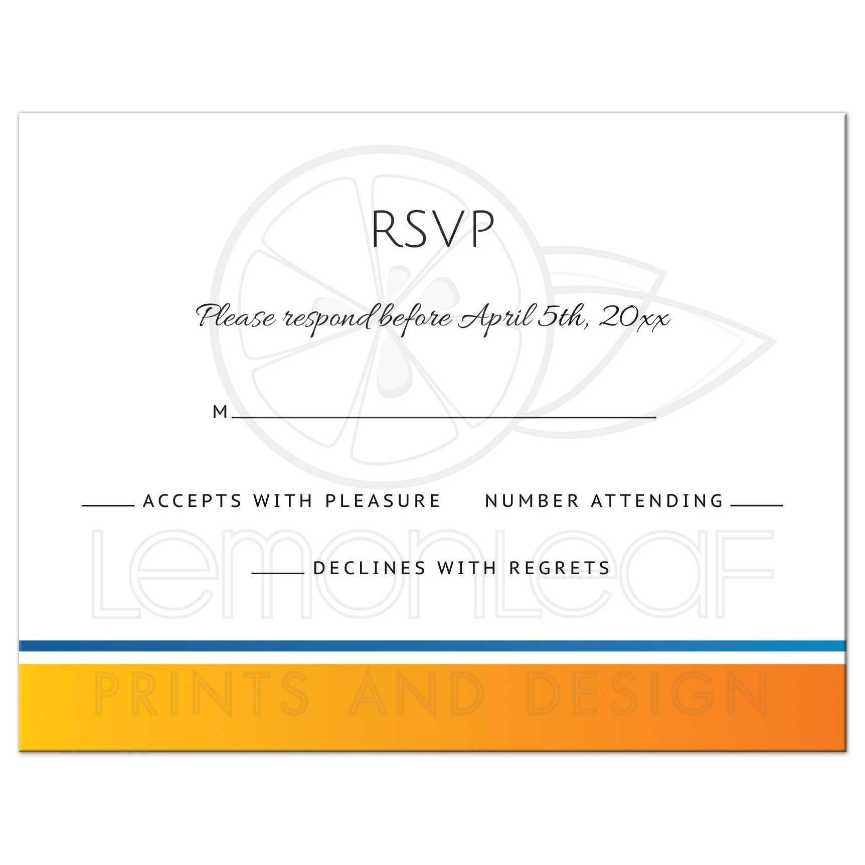 Modern Rsvp Reply Card With Yellow Orange And Blue Border Matching The Sun And Wave Wedding Invitation