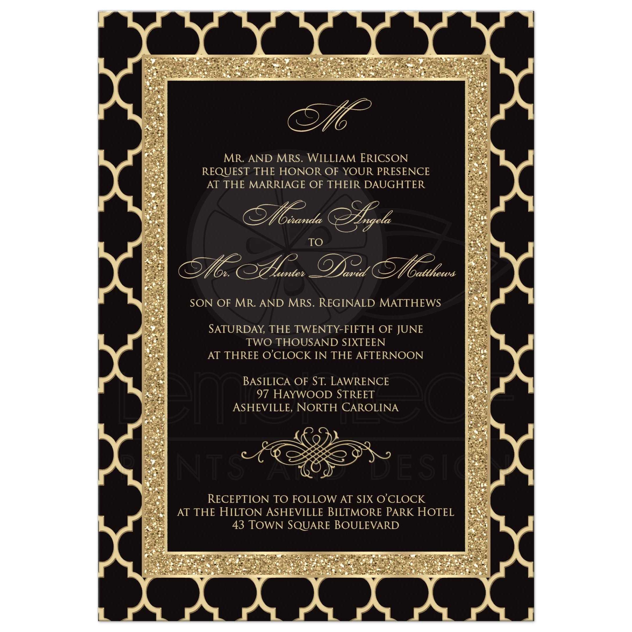 Monogrammed Wedding Invitation | Black, Gold Quatrefoil, Scroll ...