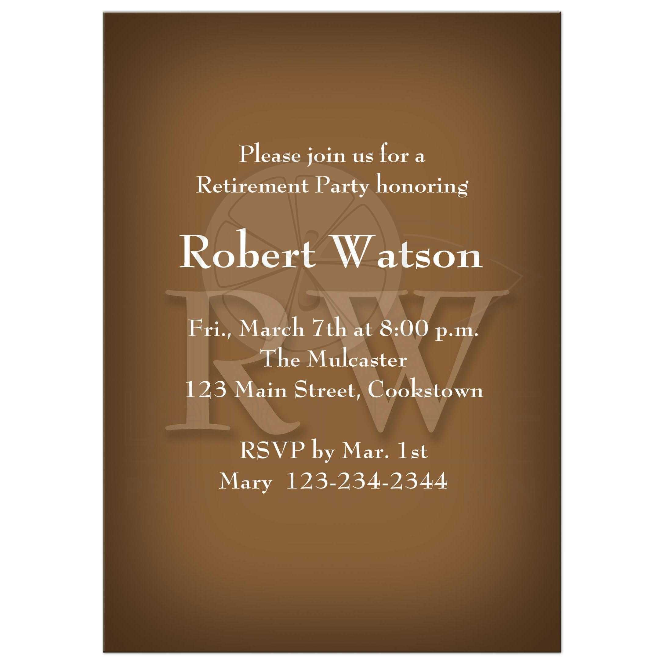 retirement party invitation classic chocolate brown
