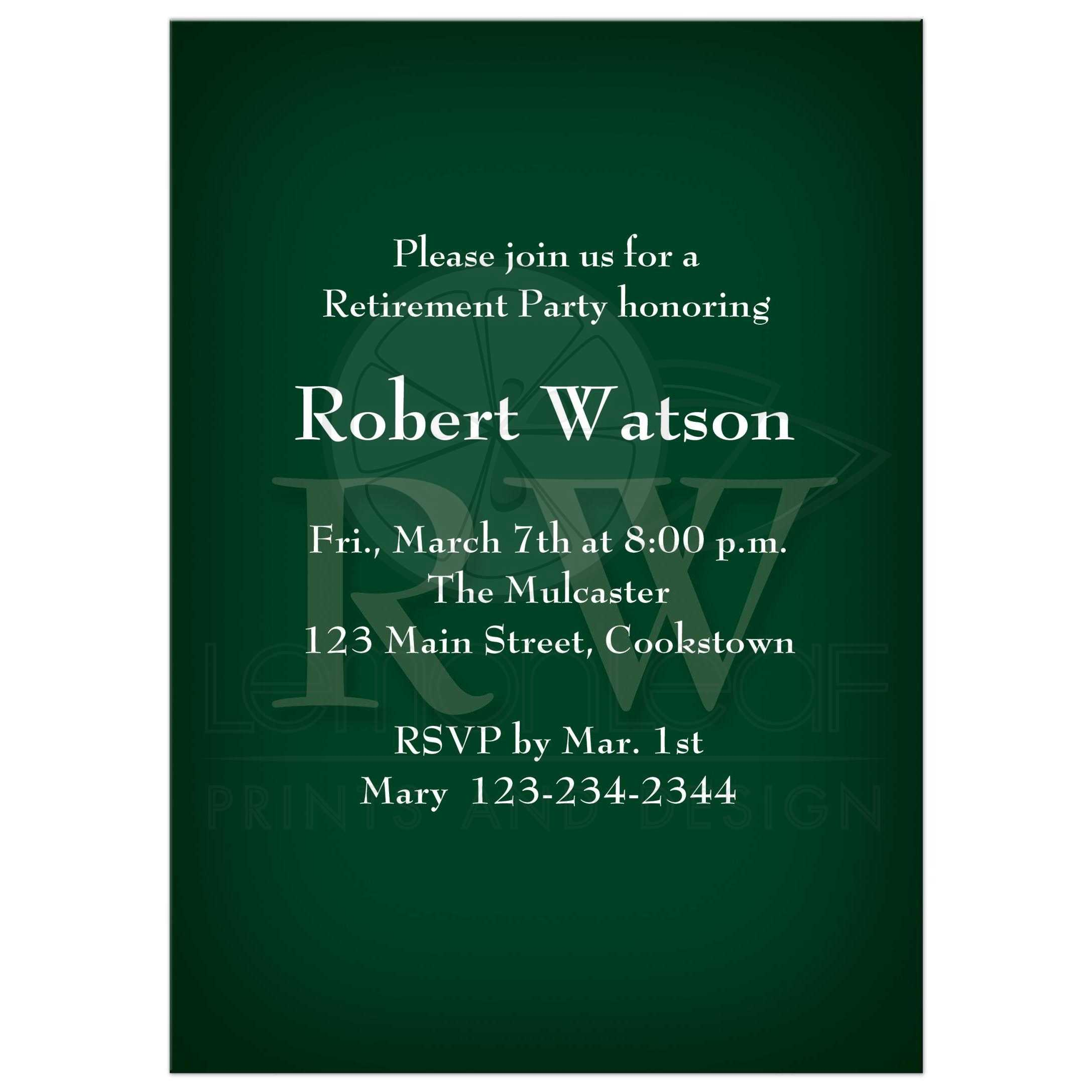 Retirement Party Invitation - Classic Forest Green