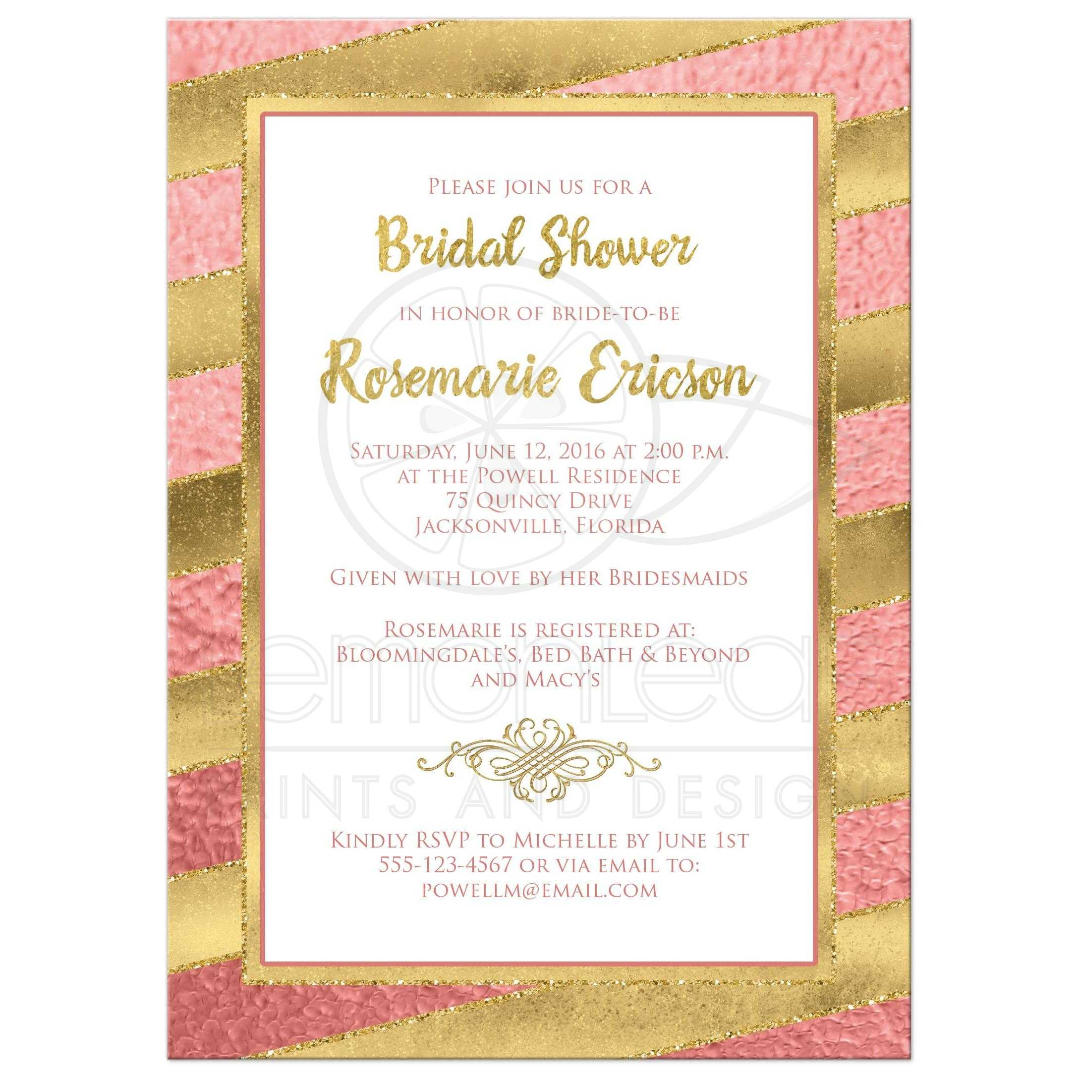 Bridal shower invitation rose gold stripes faux glitter best rose gold foil and gold glitter striped bridal shower wedding shower or couples filmwisefo