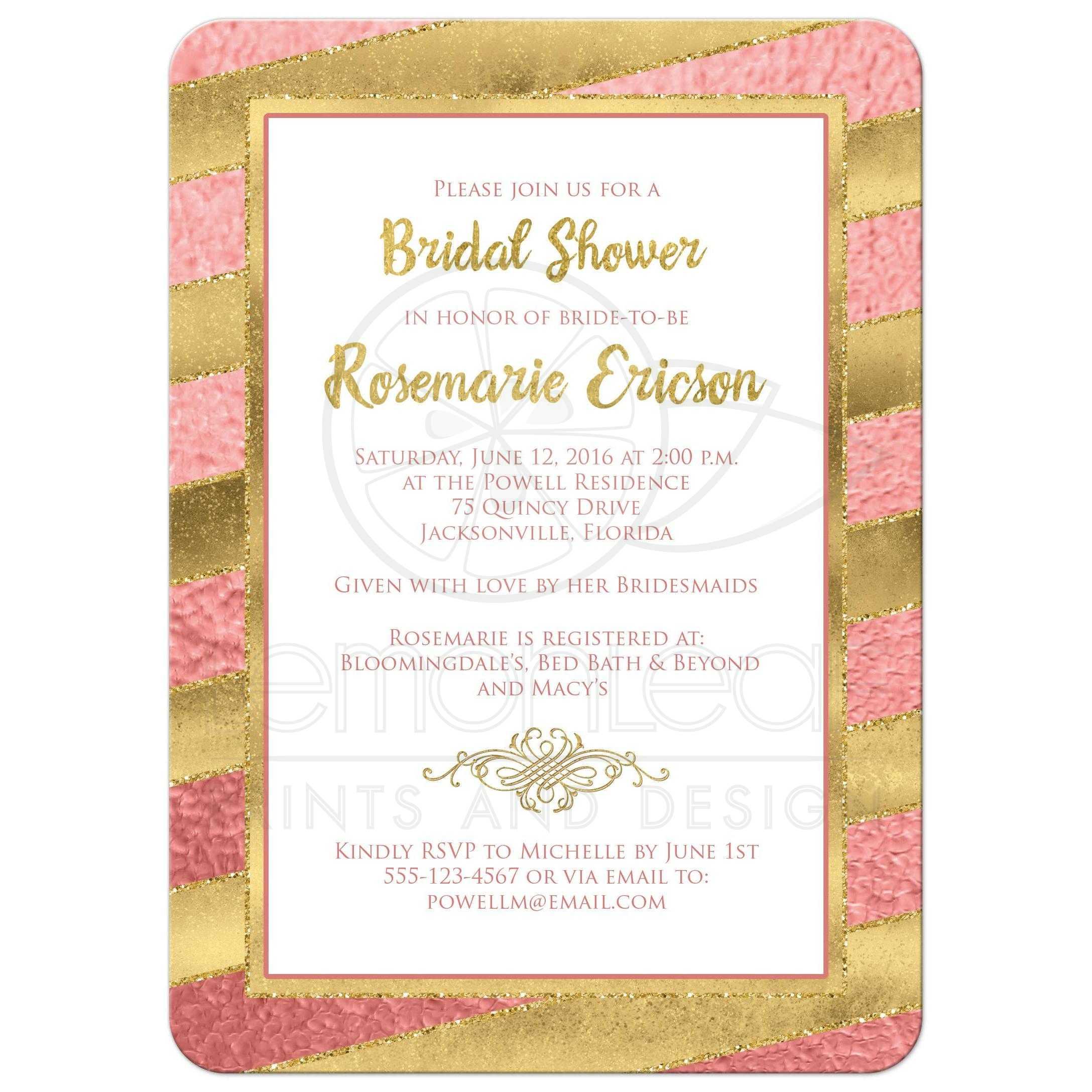 Bridal shower invitation rose gold stripes faux glitter rose gold foil and gold glitter striped bridal shower wedding shower or couples filmwisefo