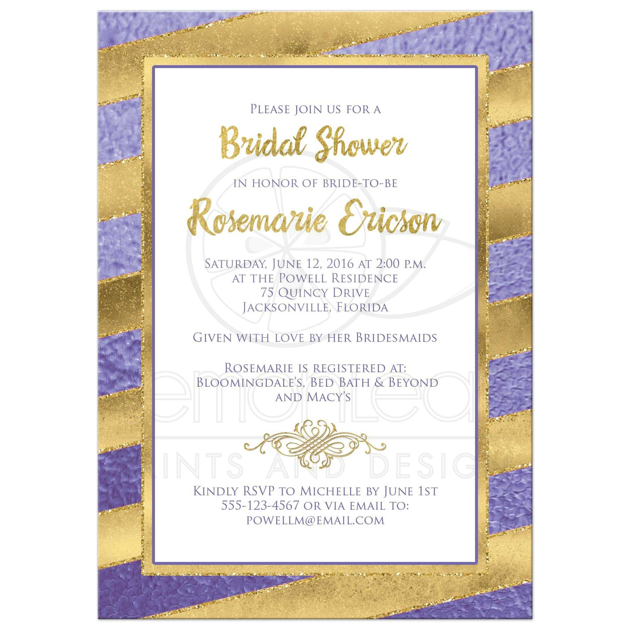 Bridal Shower Invitation Purple Gold Stripes Faux Glitter