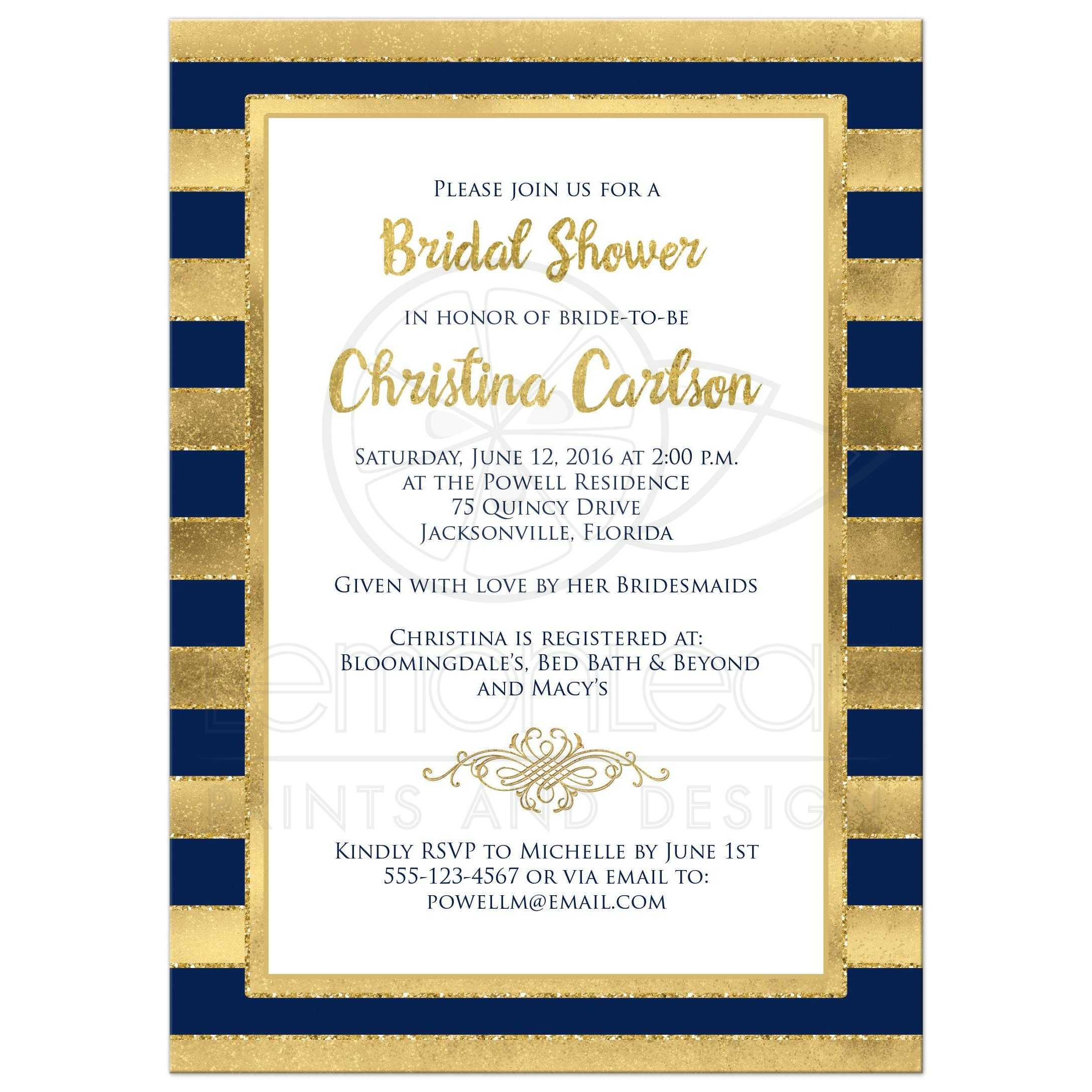 Bridal Shower Invitation Navy Blue Gold Stripes – Couples Shower Wedding Invitations