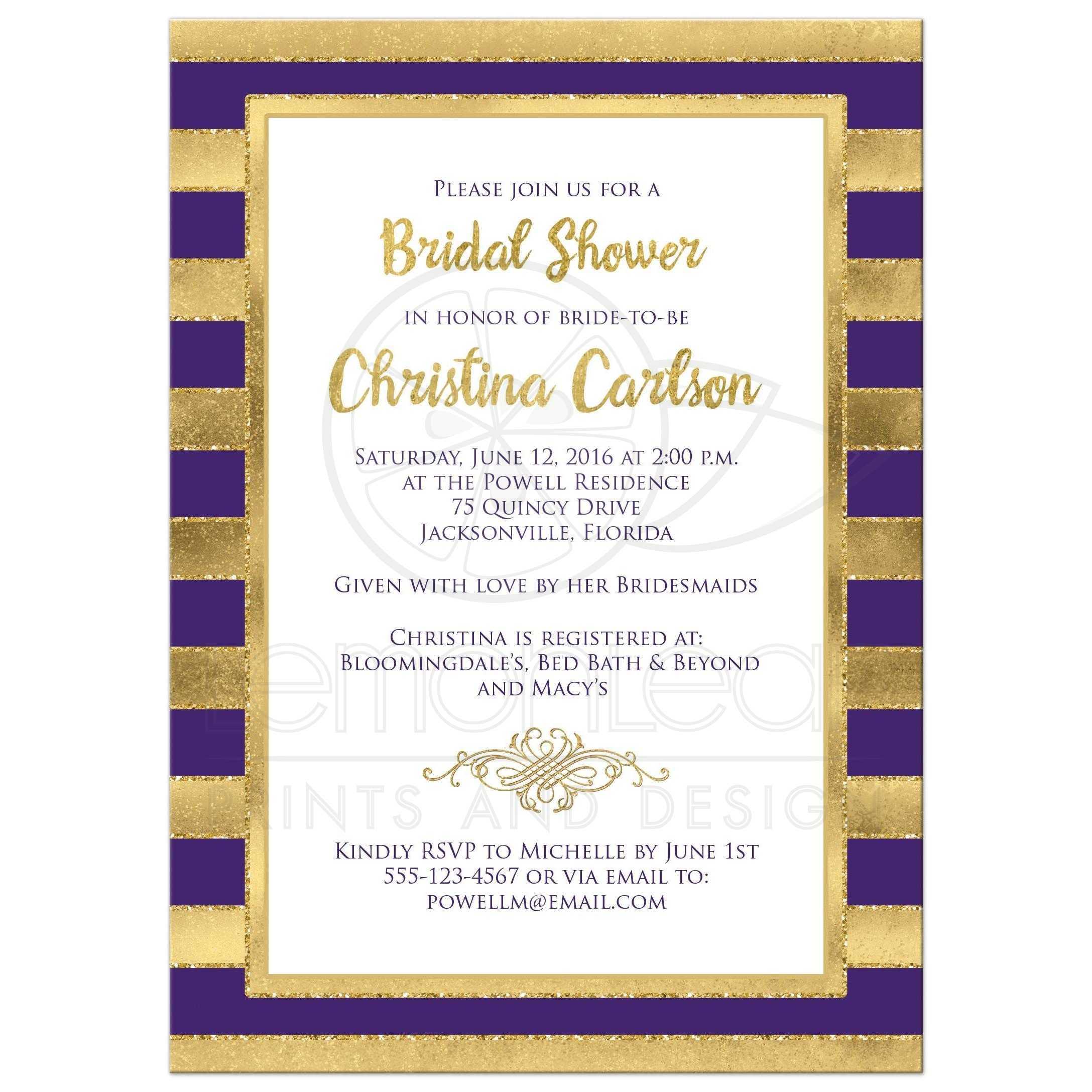 Bridal Shower Invitation | Purple, Gold Stripes 2 | Faux Glitter ...