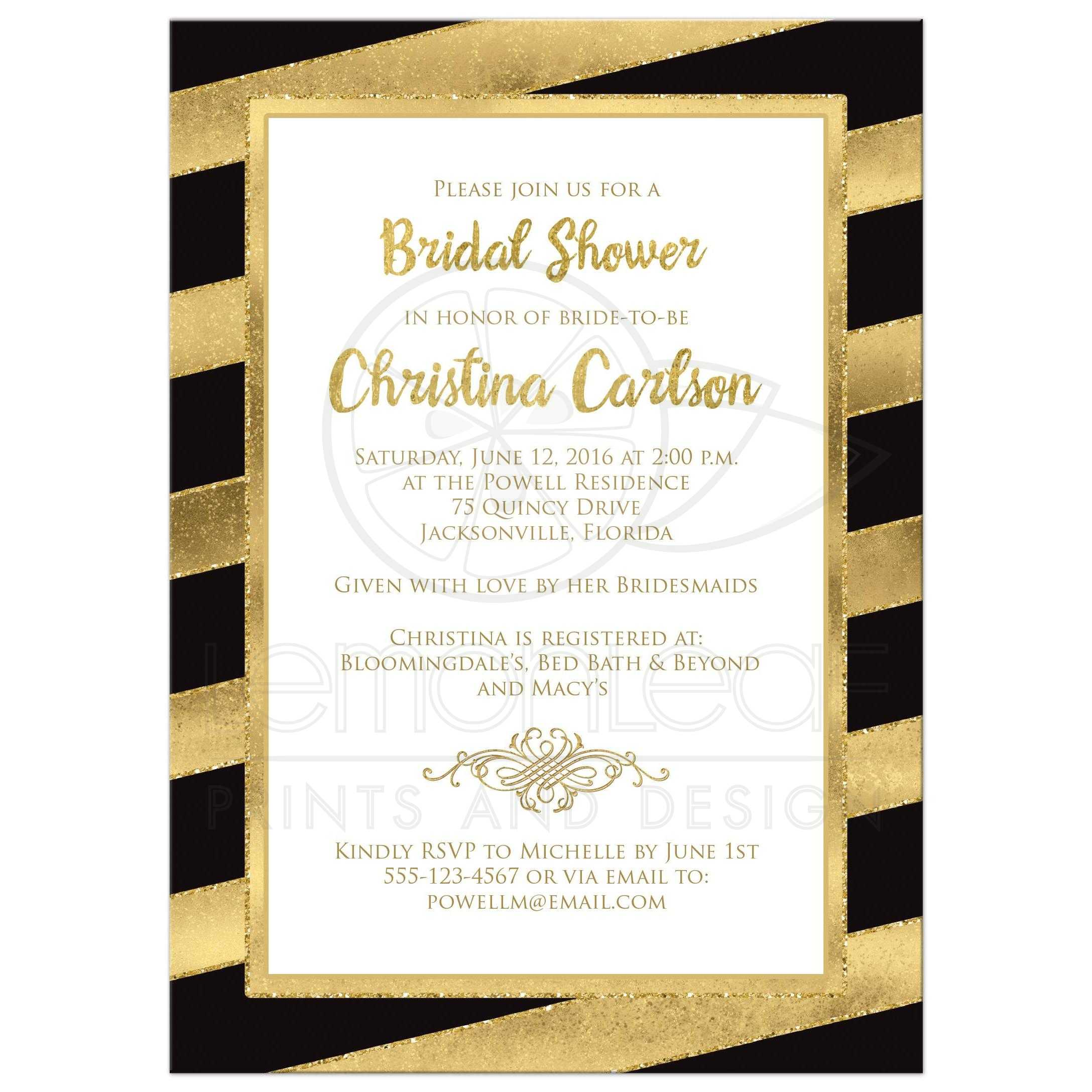 Bridal shower invitation black gold stripes faux glitter best black white and gold foil and gold glitter striped bridal shower filmwisefo