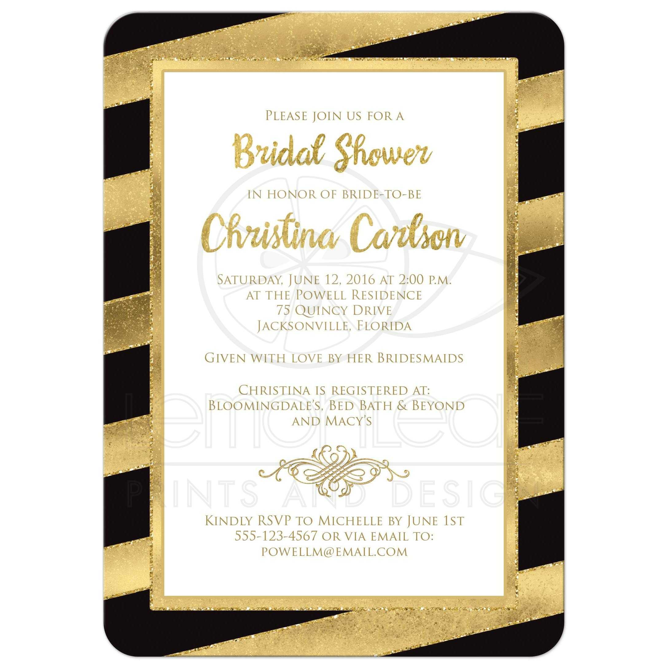 Bridal shower invitation black gold stripes faux glitter white and gold foil and gold glitter striped bridal shower filmwisefo Gallery