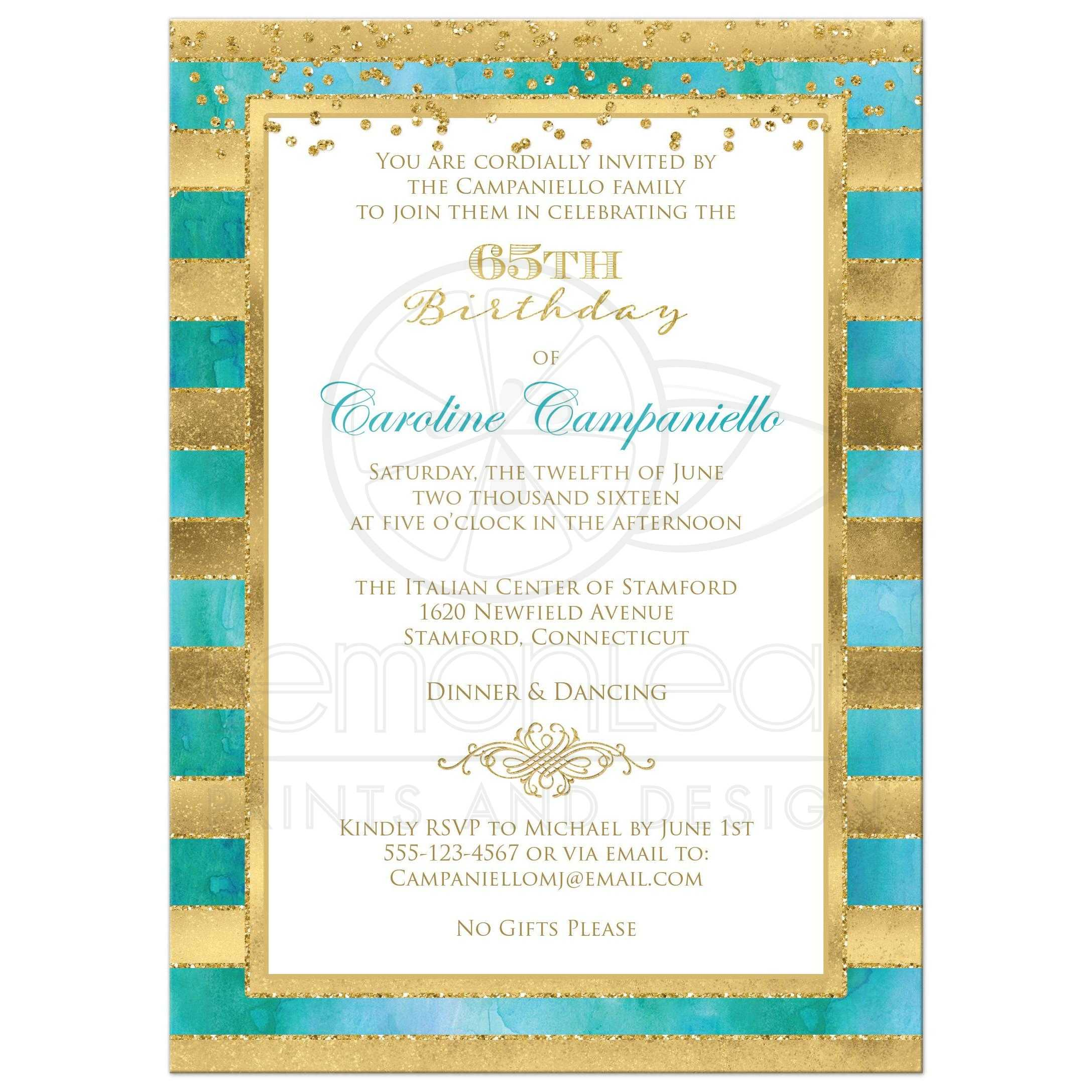 Great Teal Or Turquoise Blue Green Watercolors And Gold Foil Glitter Striped 65th Birthday