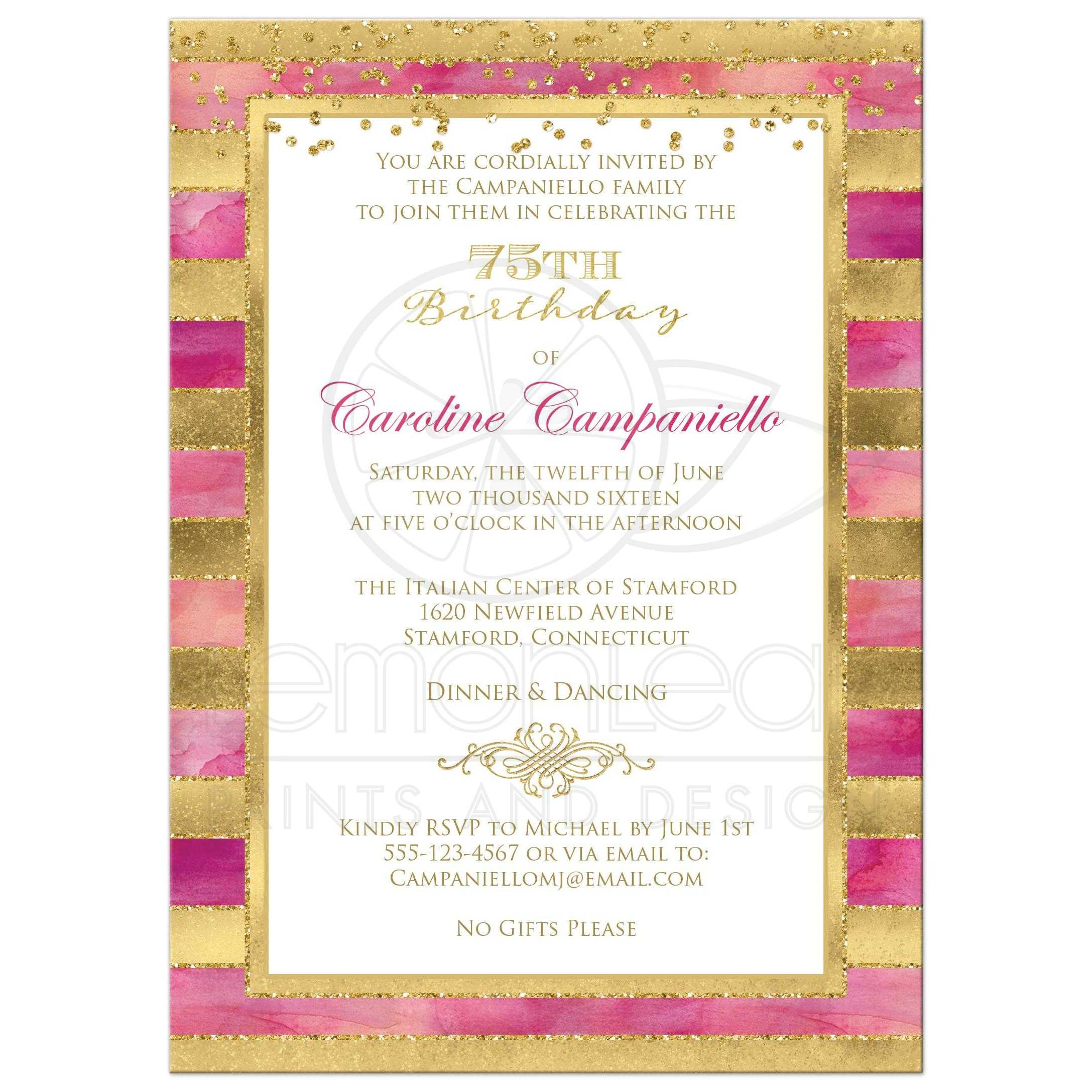 Great Pink Watercolors And Gold Foil Glitter Striped 75th Birthday Party Invitation