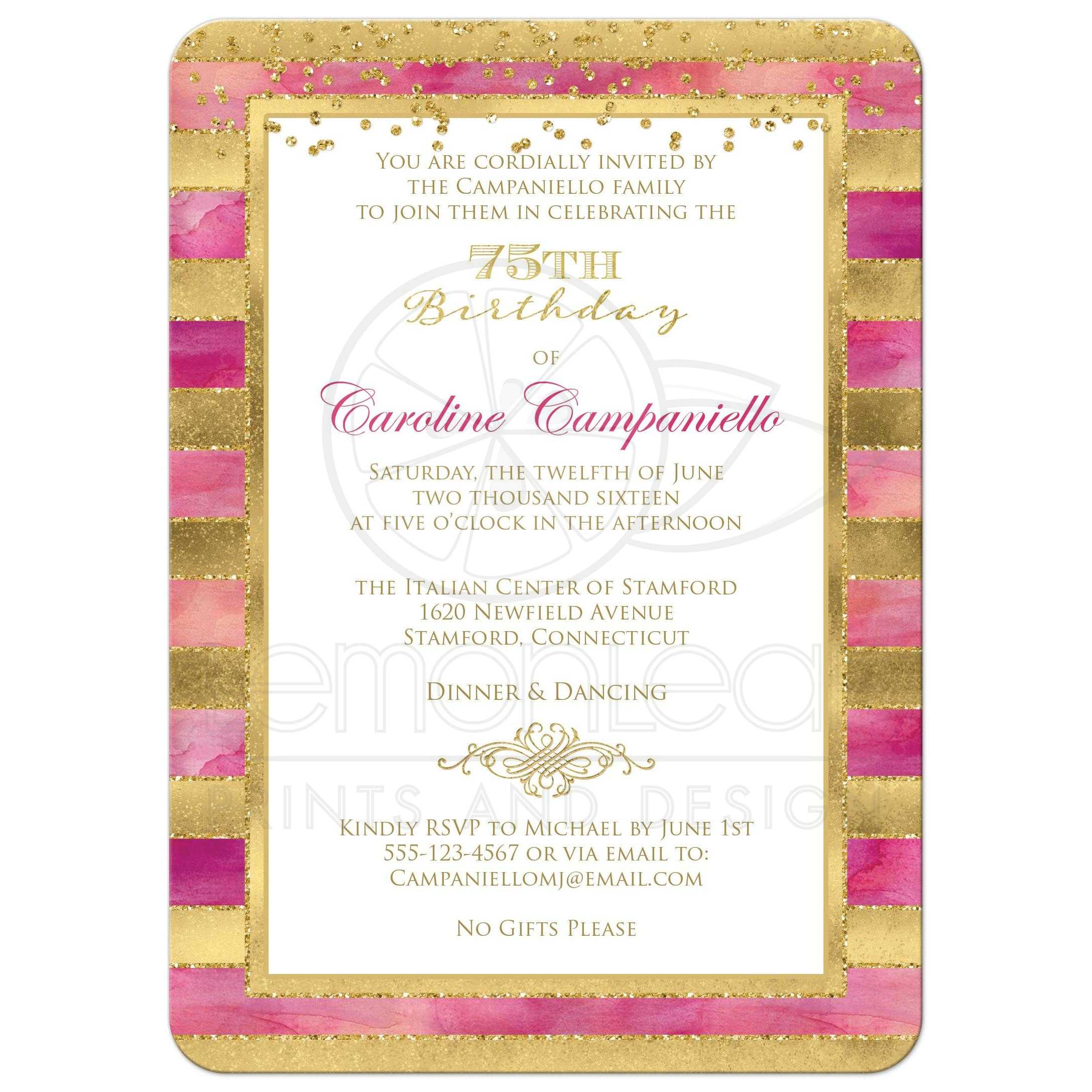 75th Birthday Invitation Pink Watercolors Gold Stripes Faux