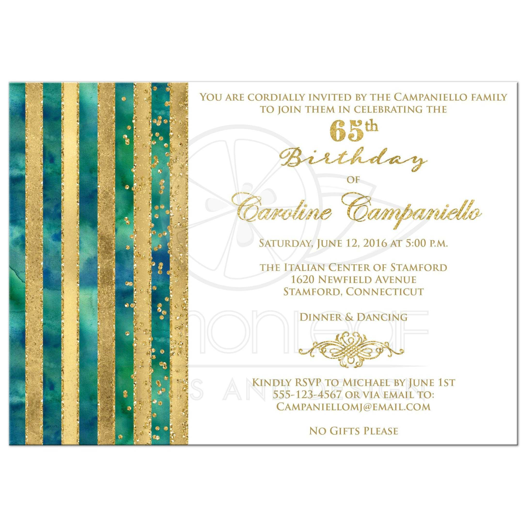 Great Peacock Blue Green Watercolors And Gold Foil Glitter Striped 65th Birthday Party Invitation