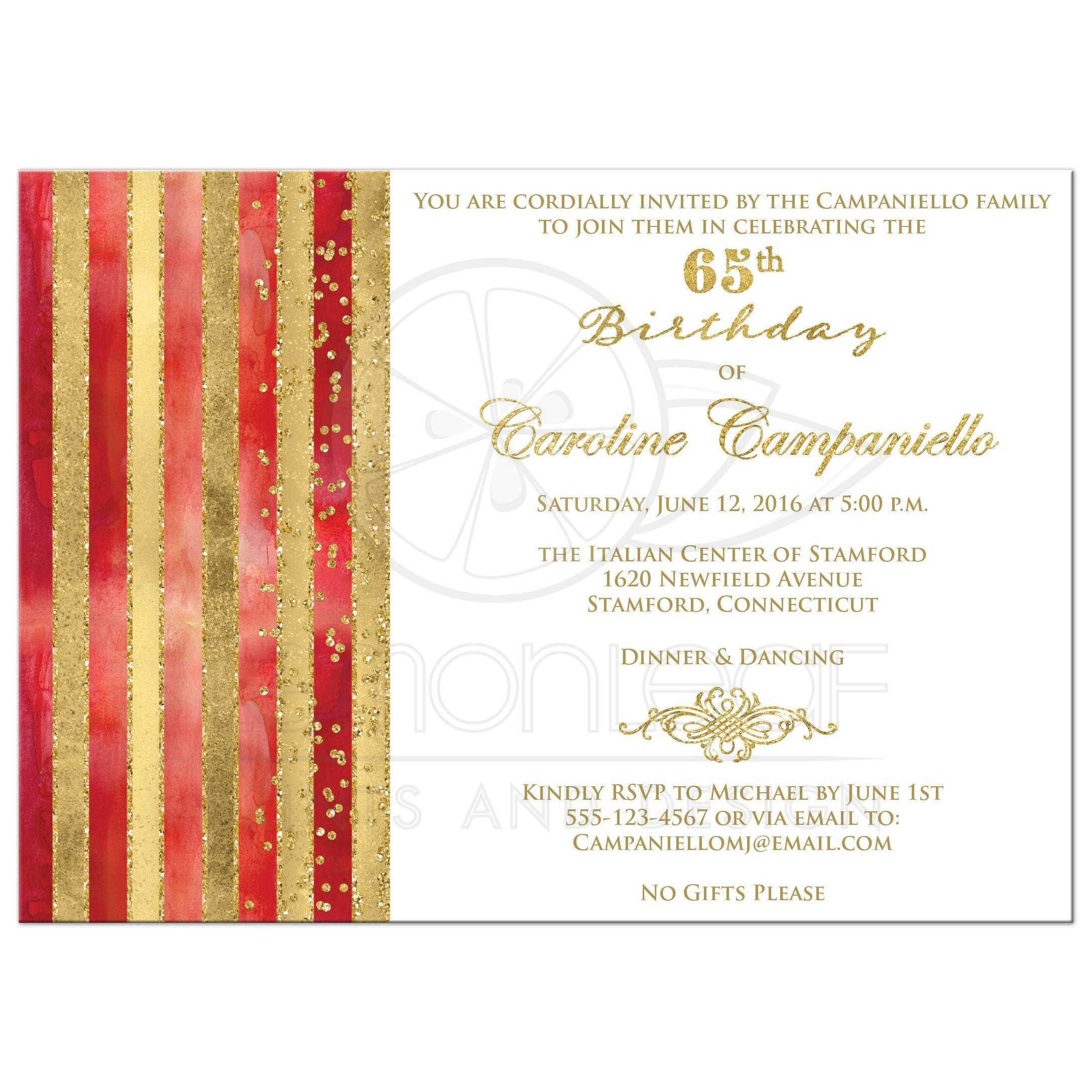 65th birthday invitation red watercolors gold stripes faux great red orange watercolors and gold foil and gold glitter striped 65th birthday party invitation stopboris Gallery