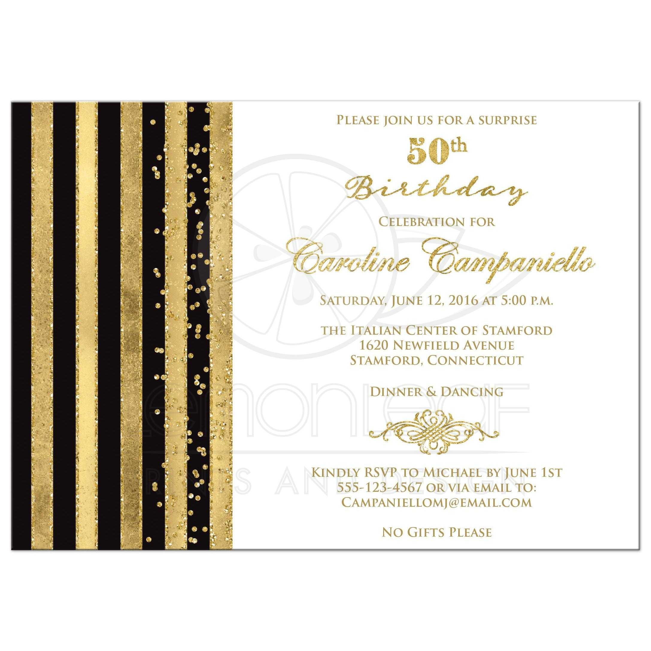 50th Birthday Invitation | Black, White, Gold Stripes | Faux Glitter ...
