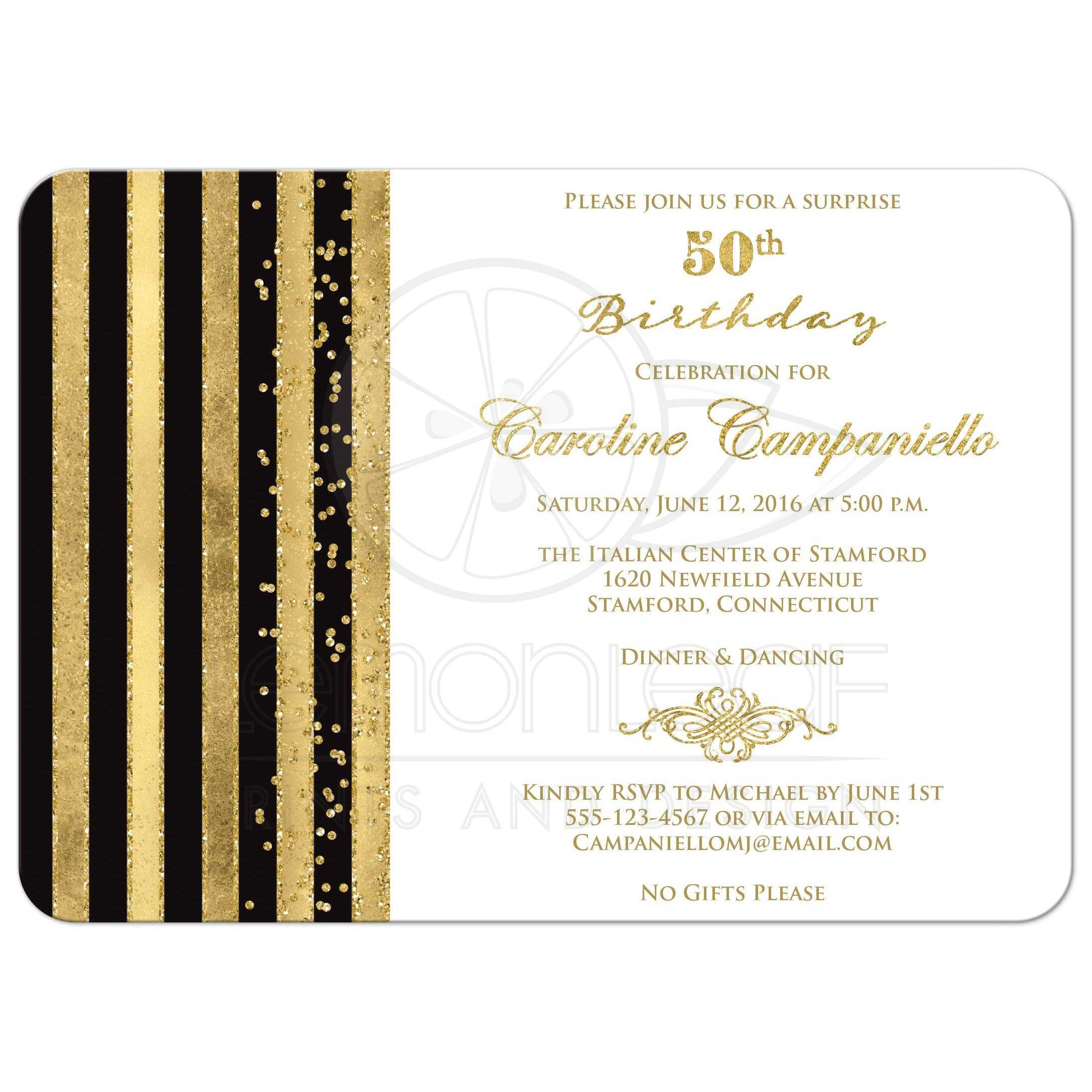 50th Birthday Invitation Black White Gold Stripes Faux Glitter