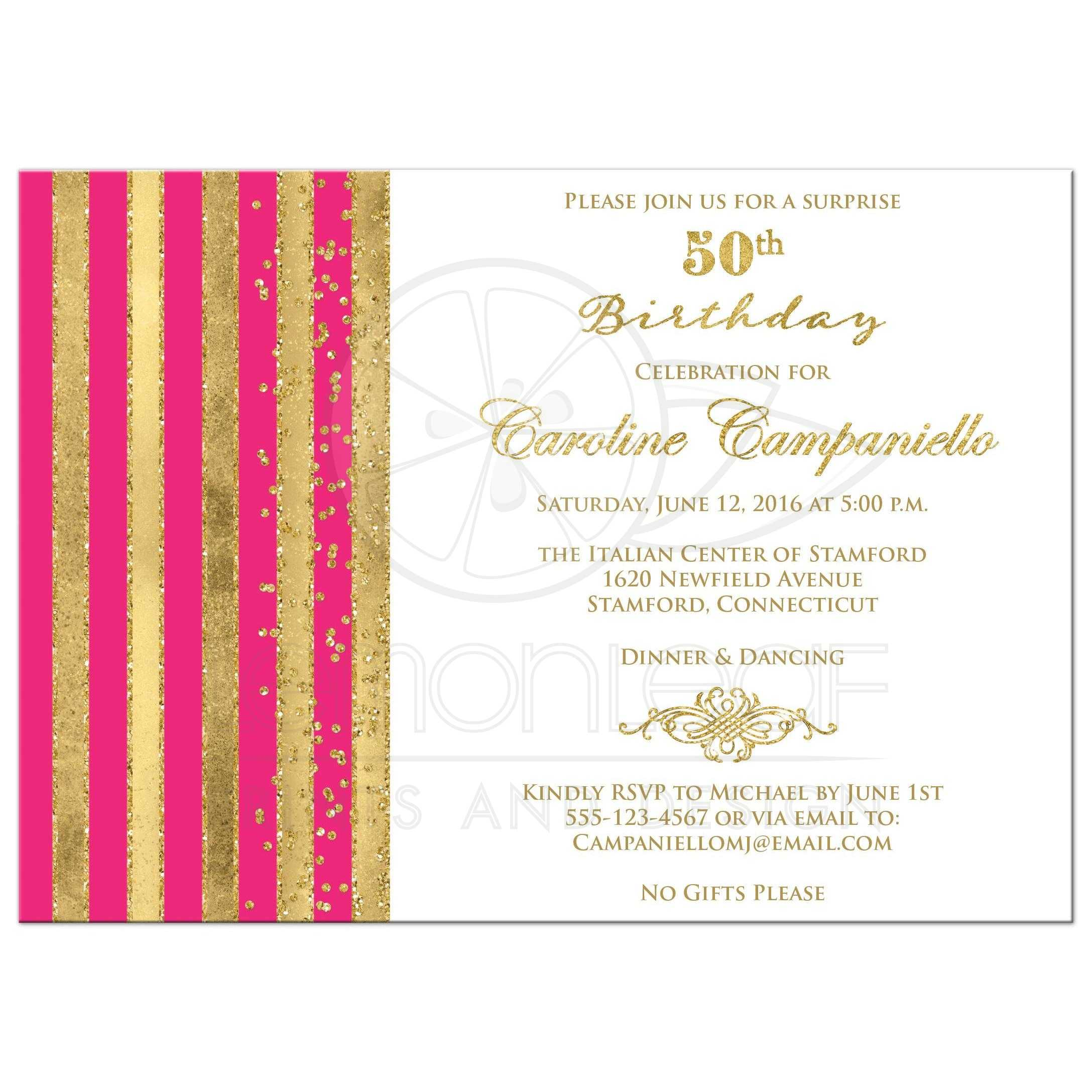 Popular 50th Birthday Invitation | Hot Pink, White, Gold Stripes | Faux  QE72