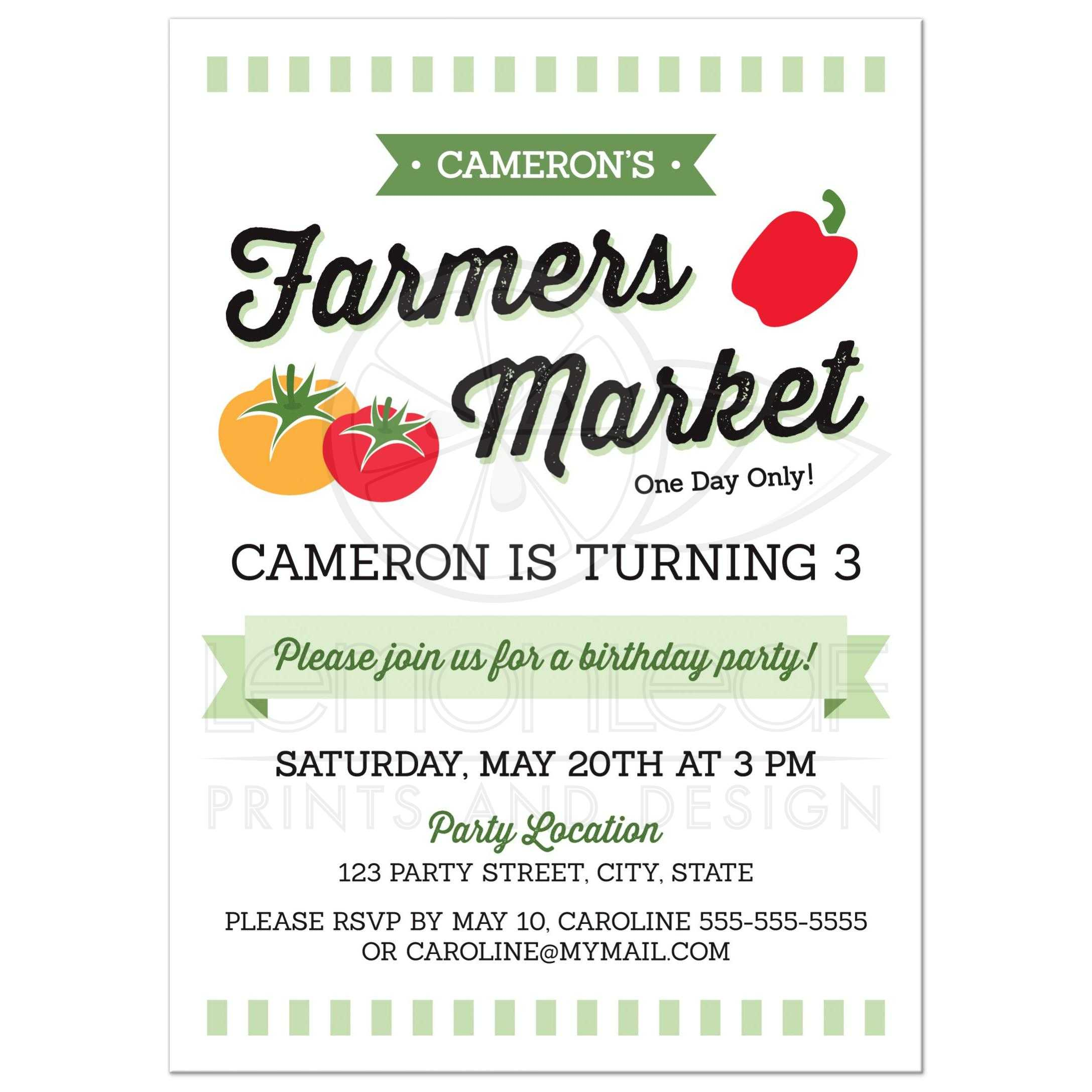 Farmers Market Birthday Invitation With Tomatoes And Red