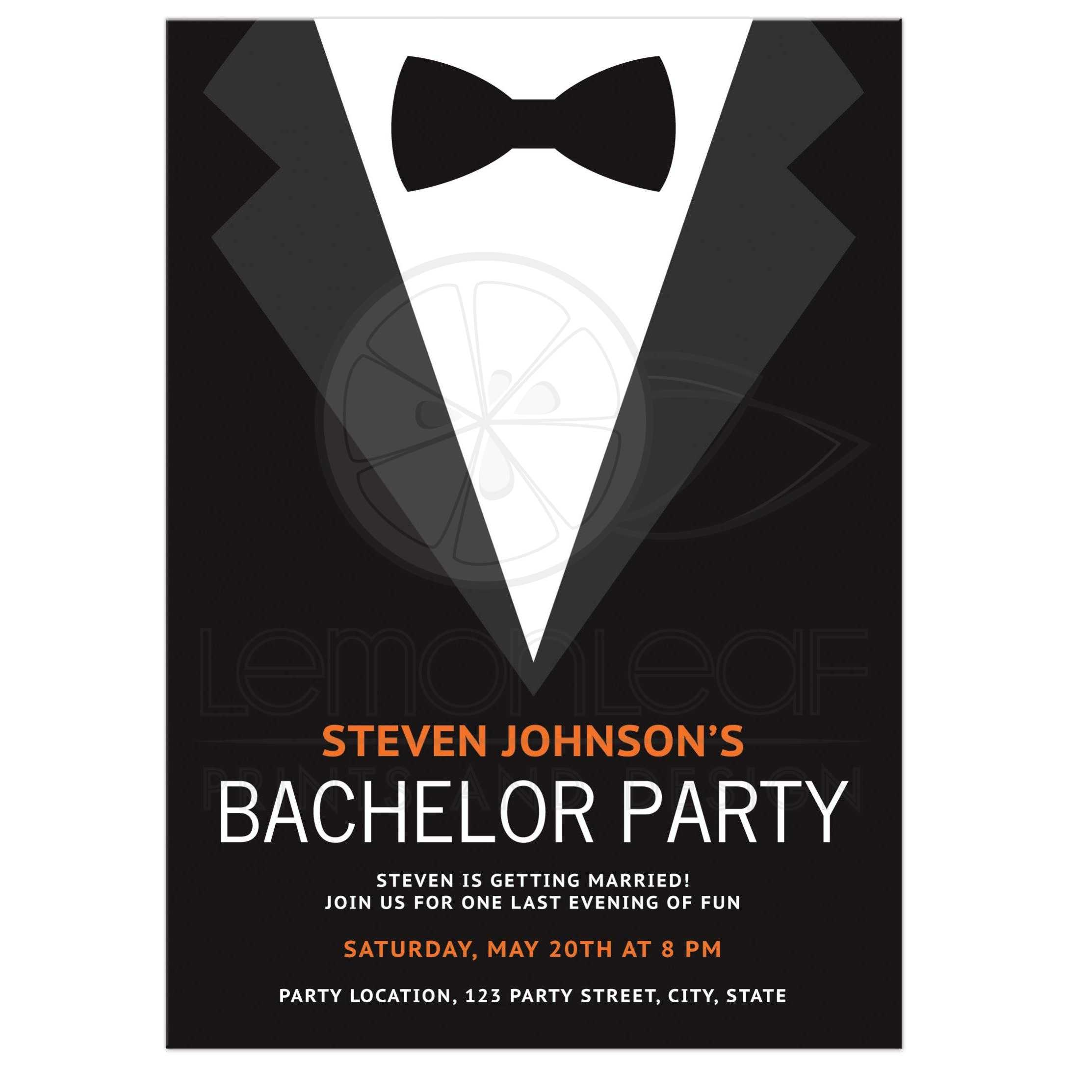 Bachelor party invitation with bow tie Bold and modern design in