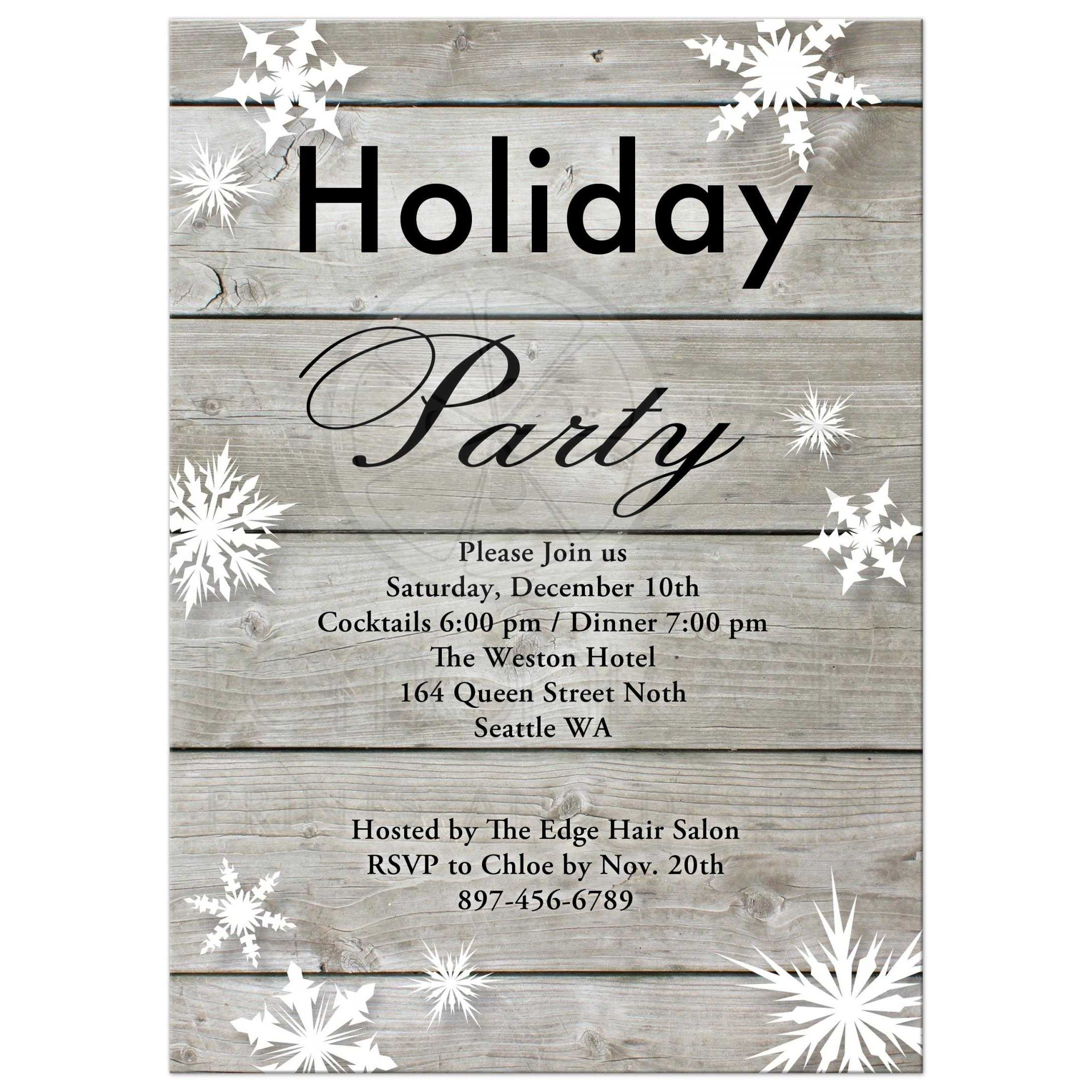 corporate holiday party invitation on barn board corporate holiday party invitation large snowflakes on a barn board background