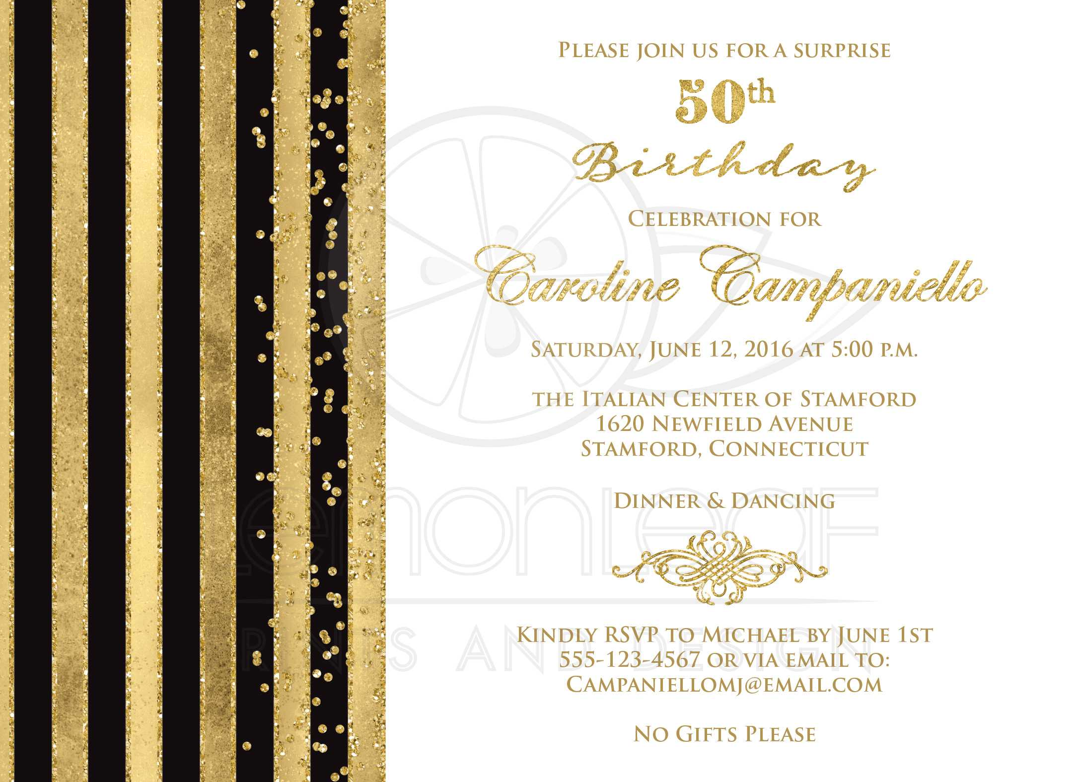 Invitation mail for birthday party in office picture ideas invitation mail for birthday party in office th birthday invitation black white gold stripes faux glitter stopboris Gallery