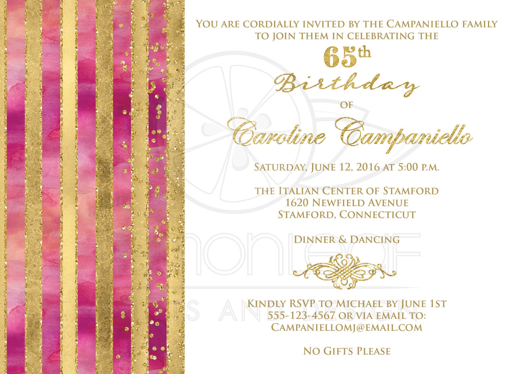 65th birthday invitation pink watercolors gold stripes faux