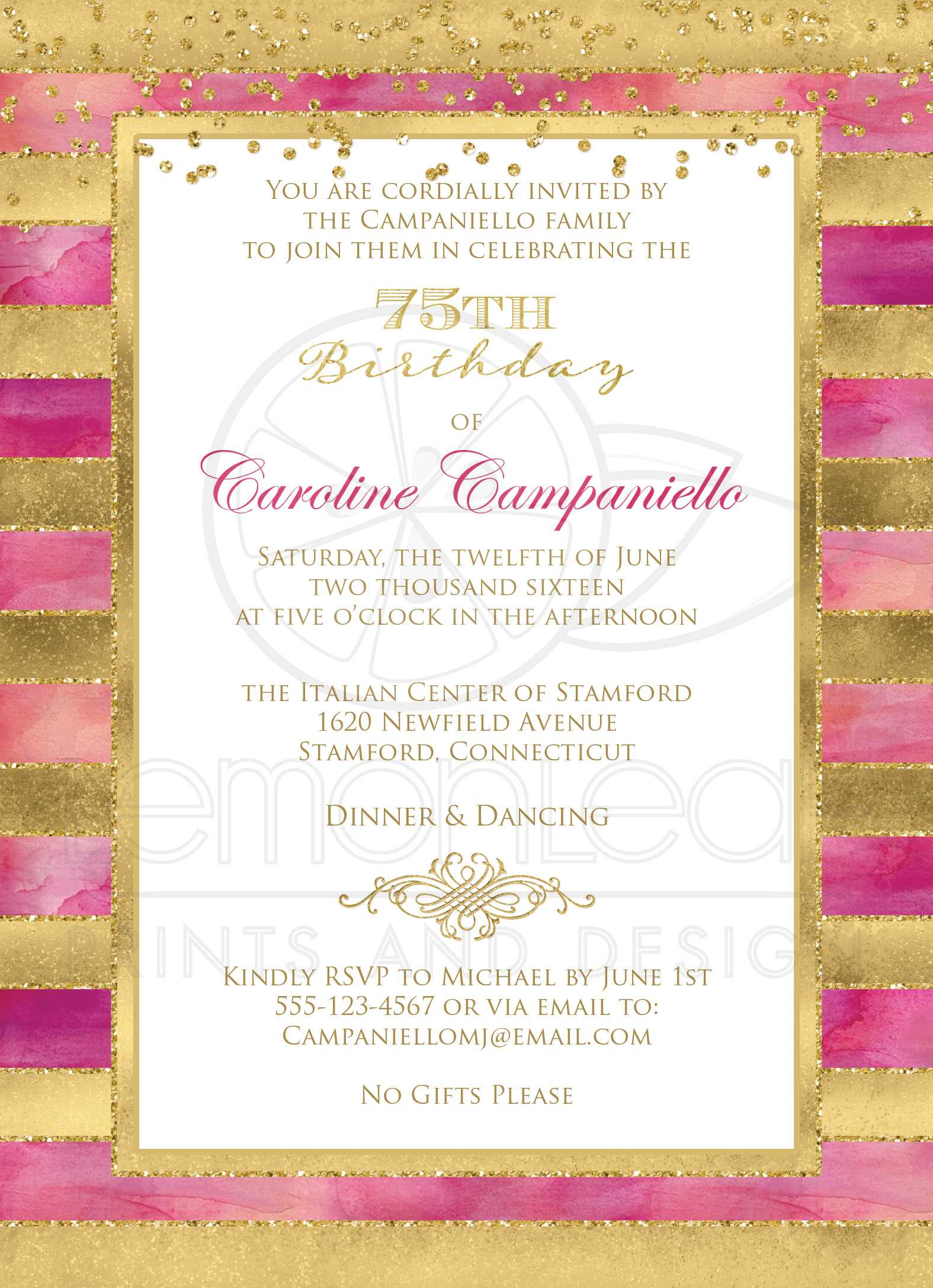 75th Birthday Invitation | Pink Watercolors, Gold Stripes | Faux ...