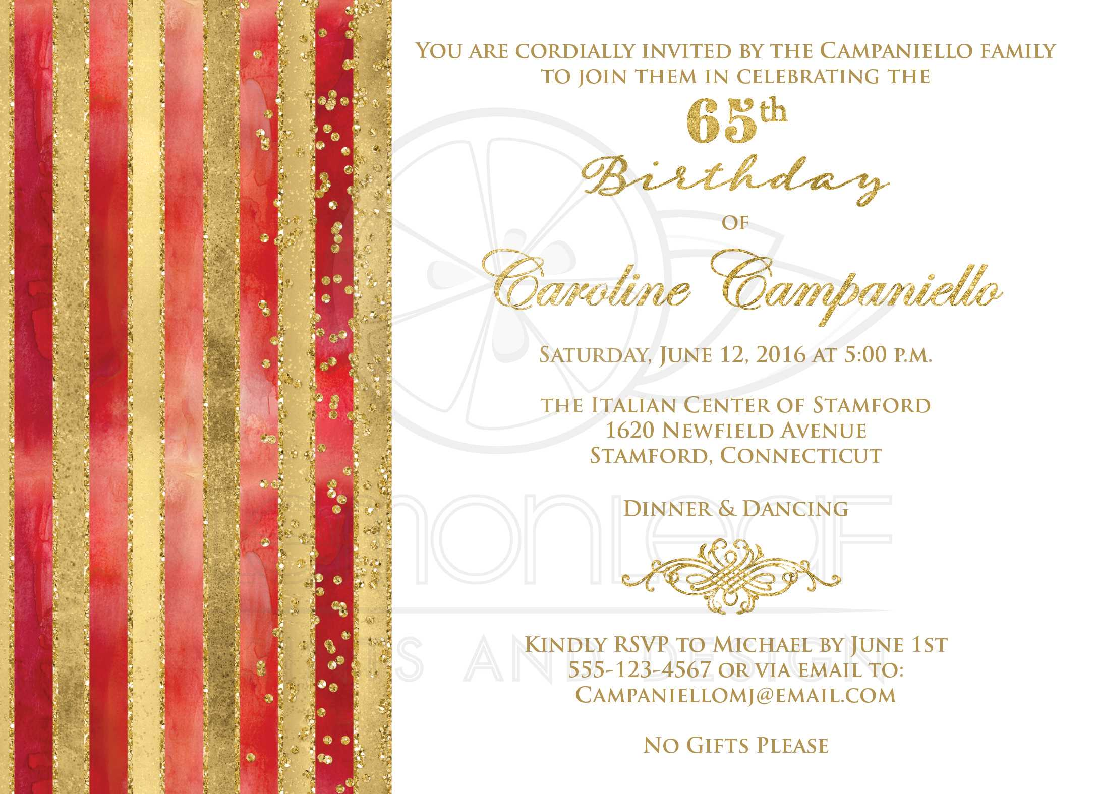 65th birthday invitation red watercolors gold stripes faux 65th birthday invitation red watercolors gold stripes faux glitter simulated gold foil scroll stopboris Gallery