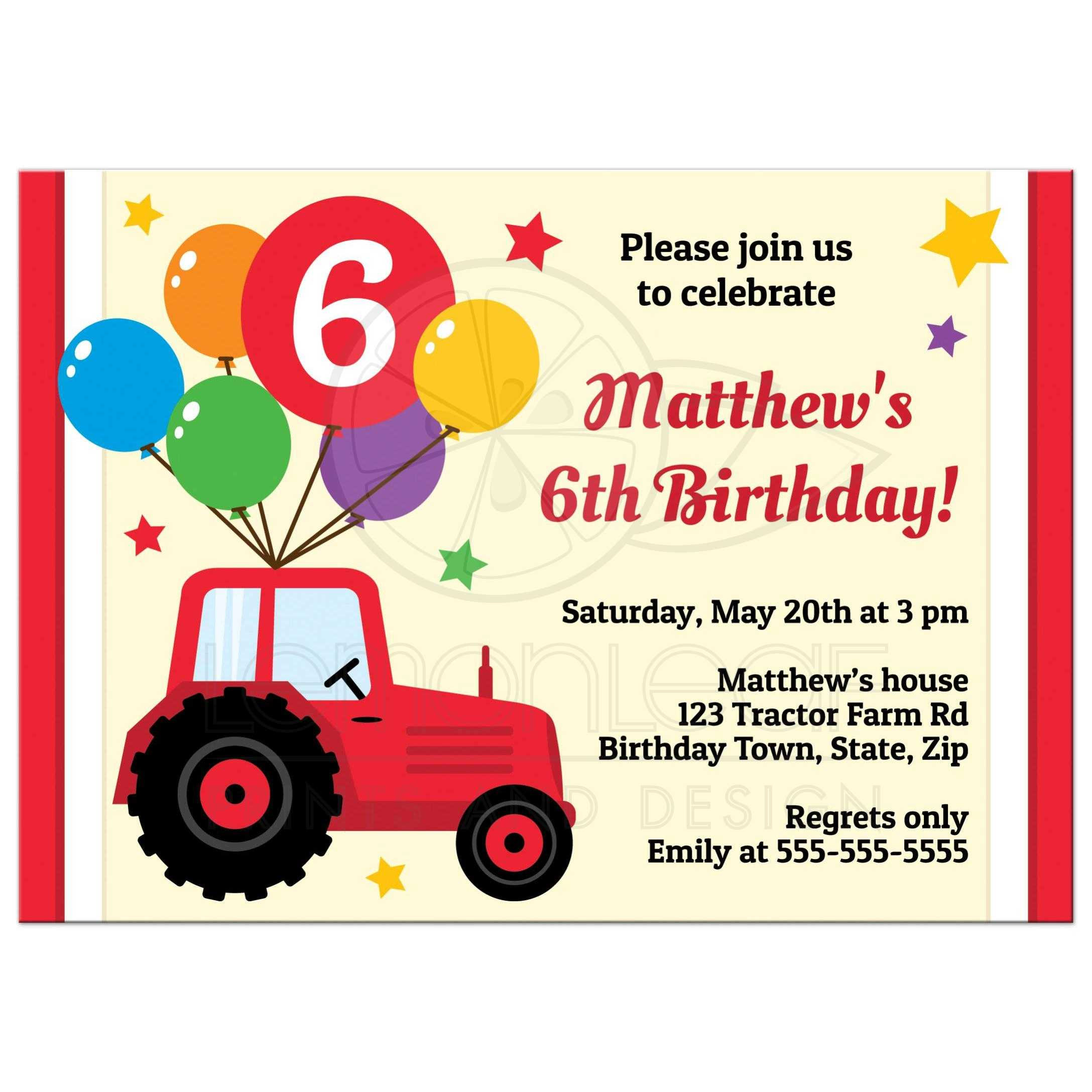 Birthday invitation for kids with red tractor, balloons and custom age