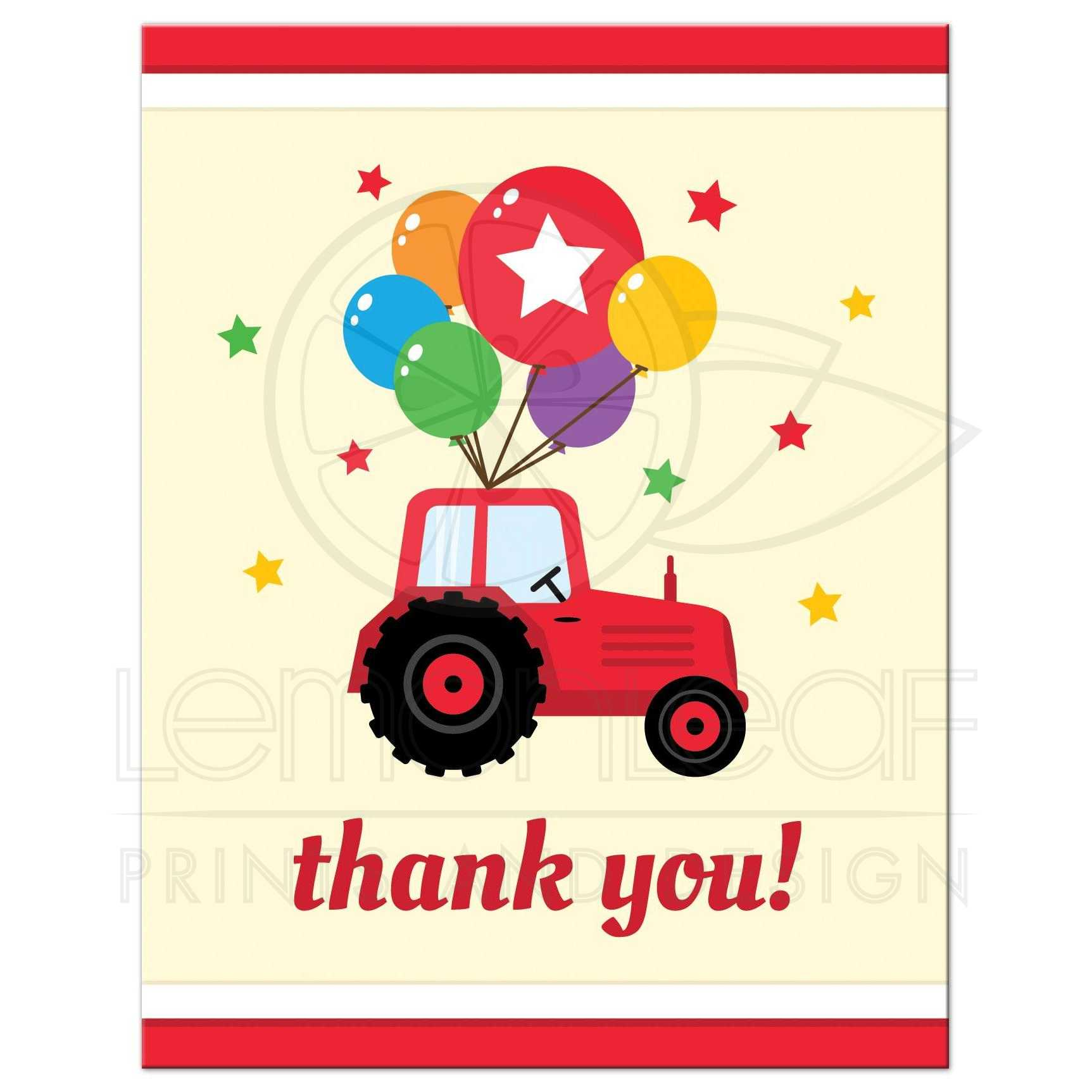 Birthday party thank you note card - red tractor and colorful balloons