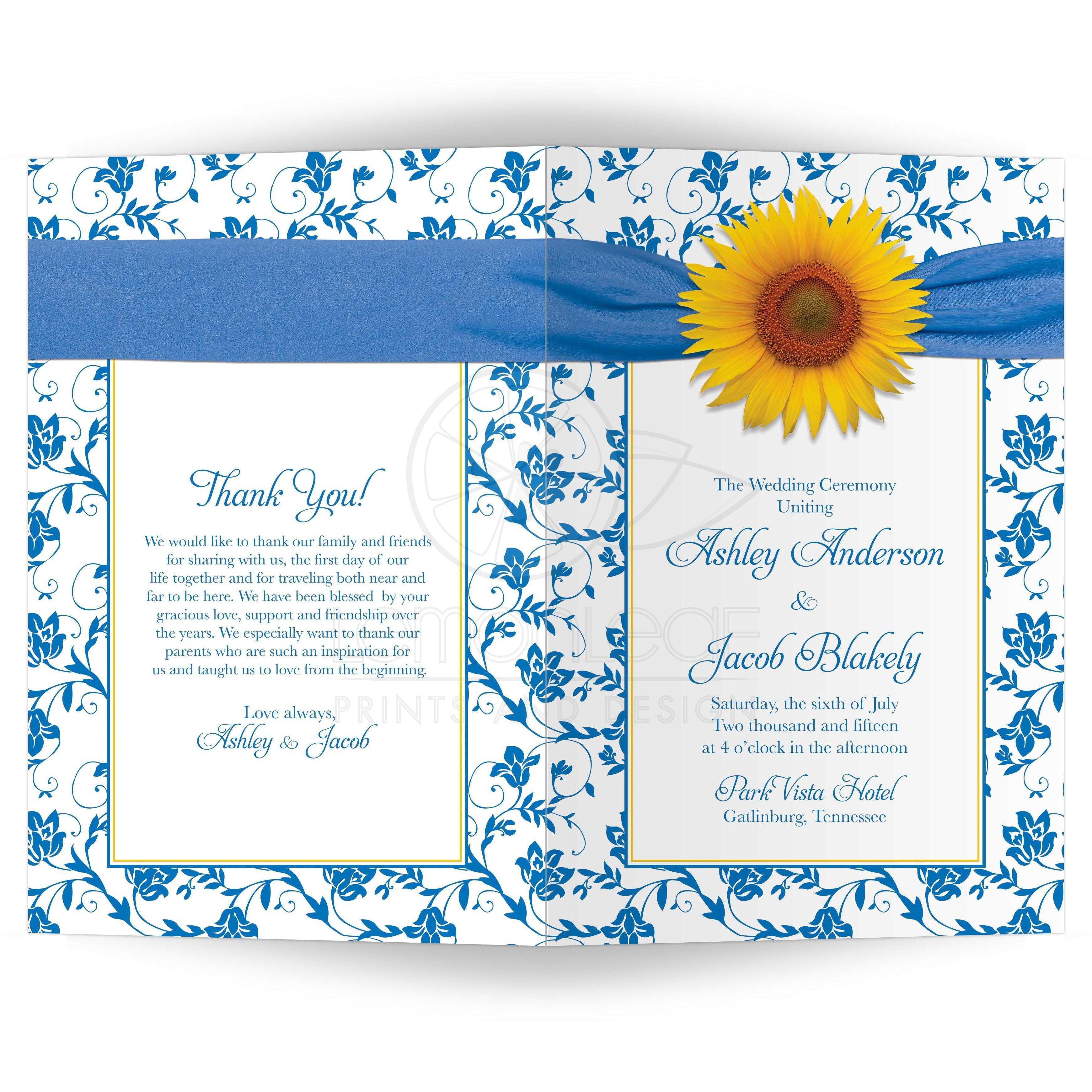 wedding program cover sunflower blue damask floral