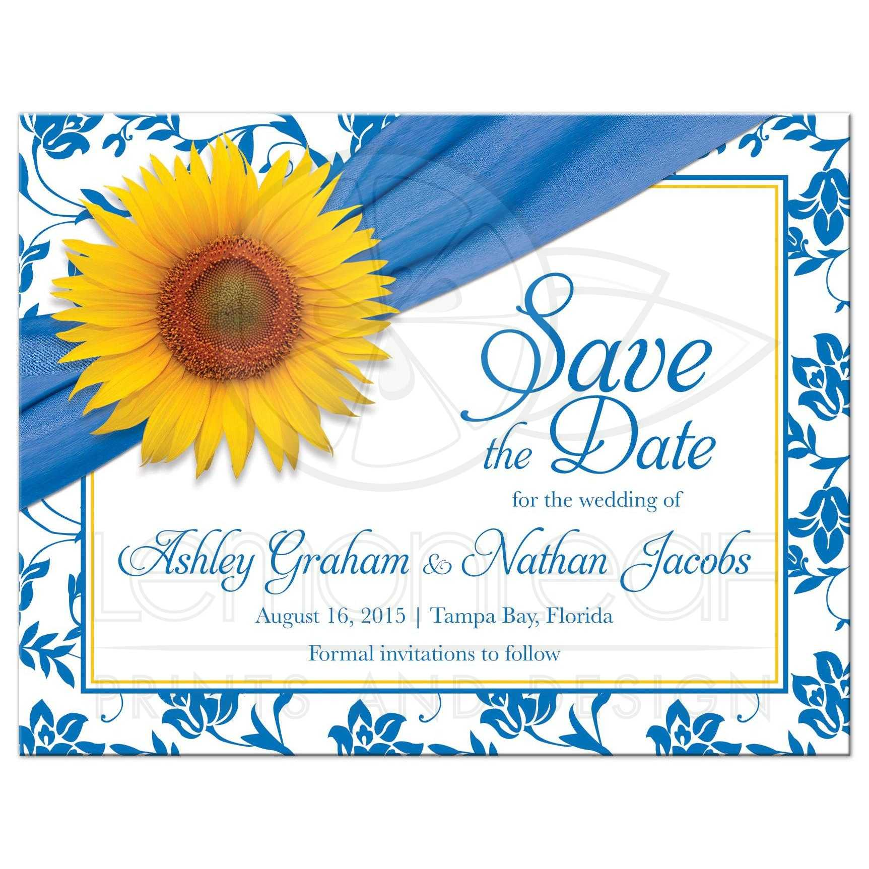 Wedding Save The Date Announcement Sunflower Blue Damask