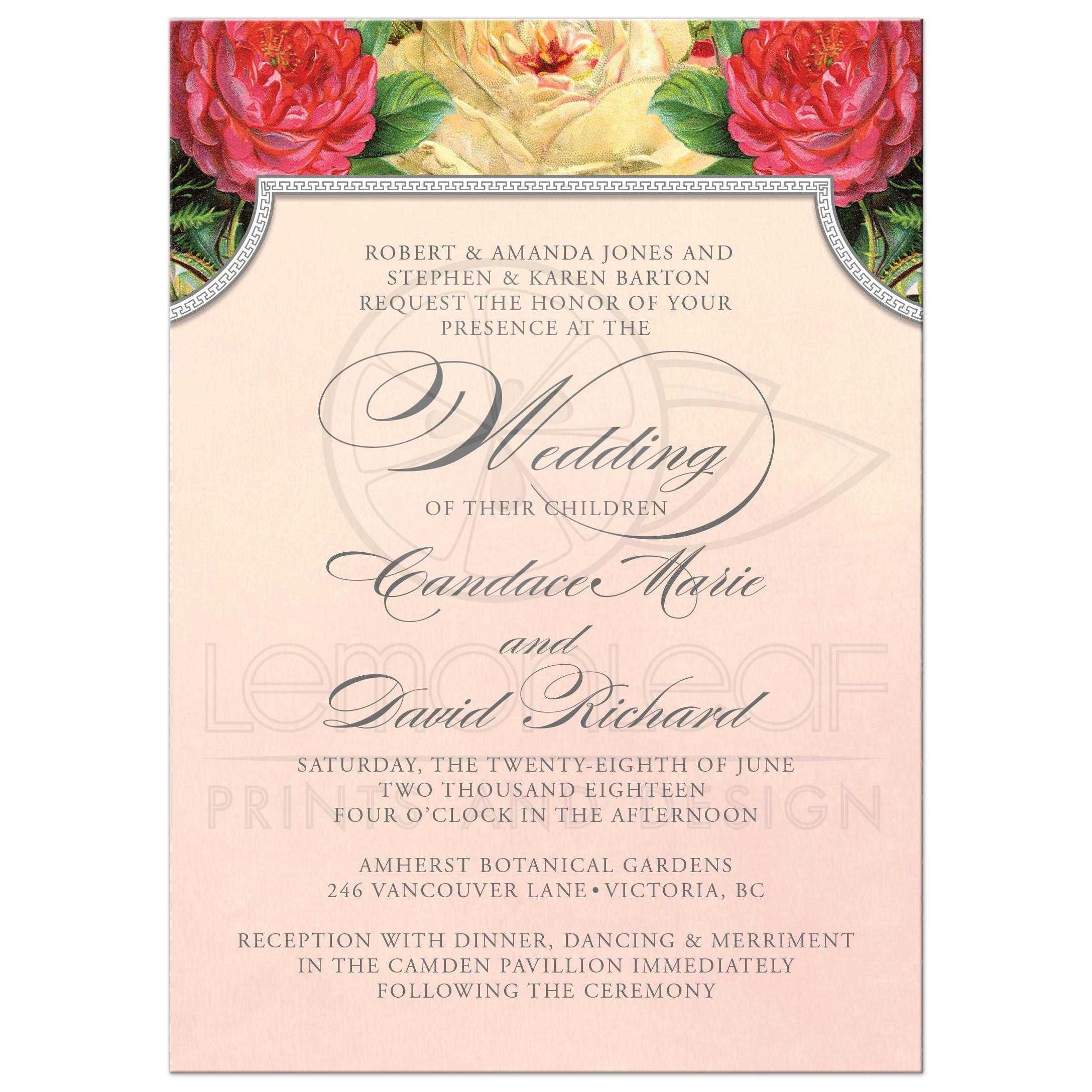 Wedding Invitations - Vintage Roses