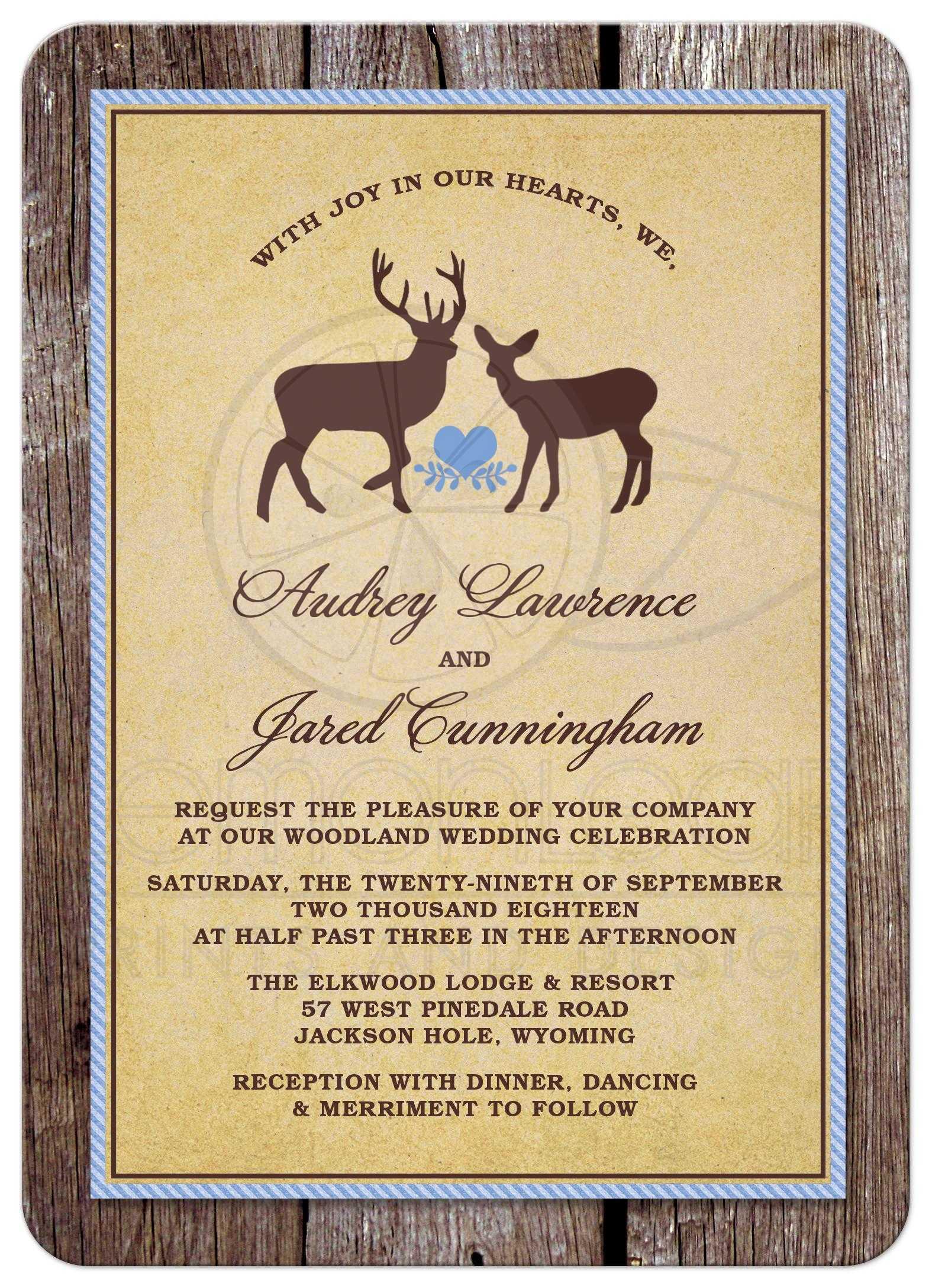 Wedding Invitations Rustic Wood Deer