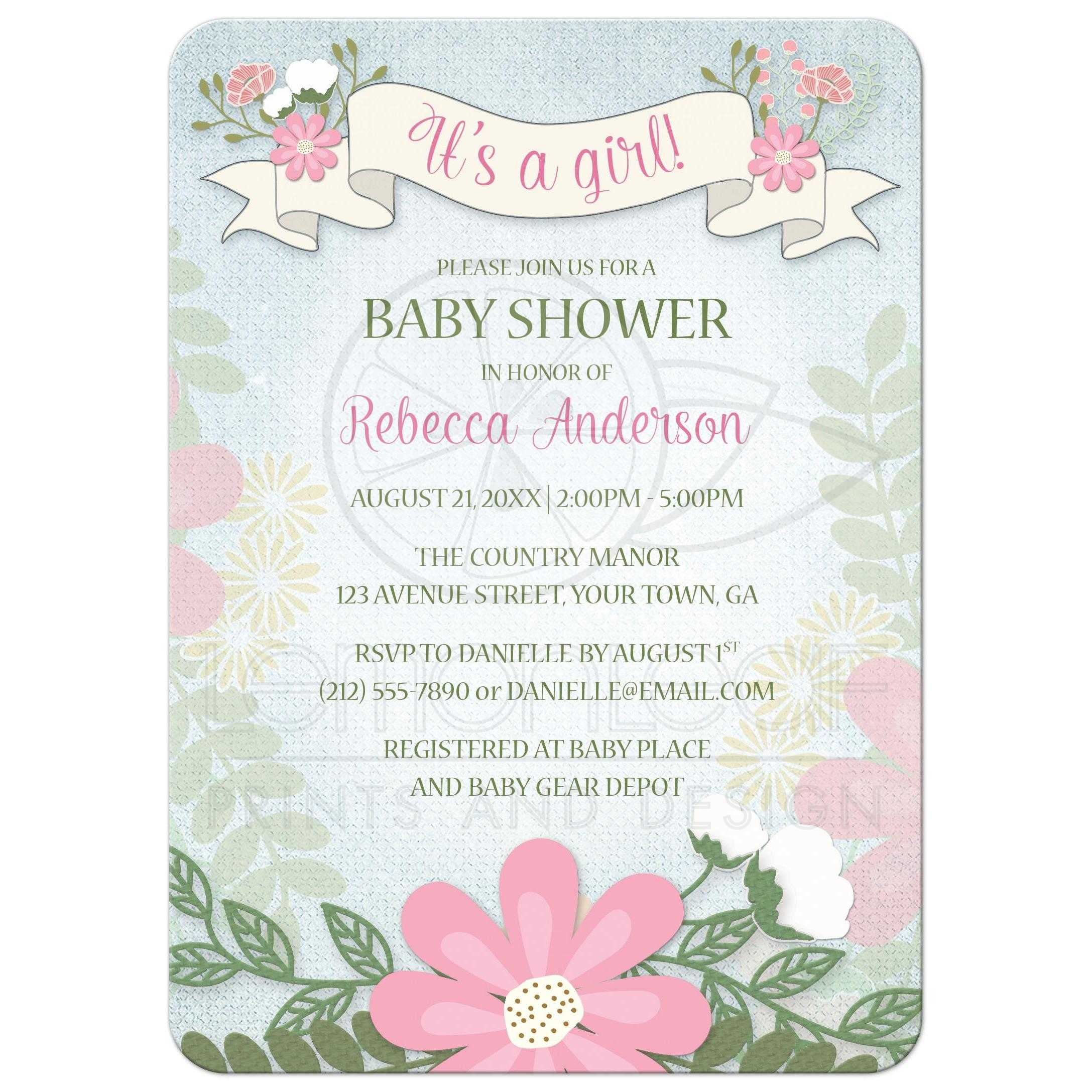 Baby Shower Invitations - Rustic Girl Floral Banner