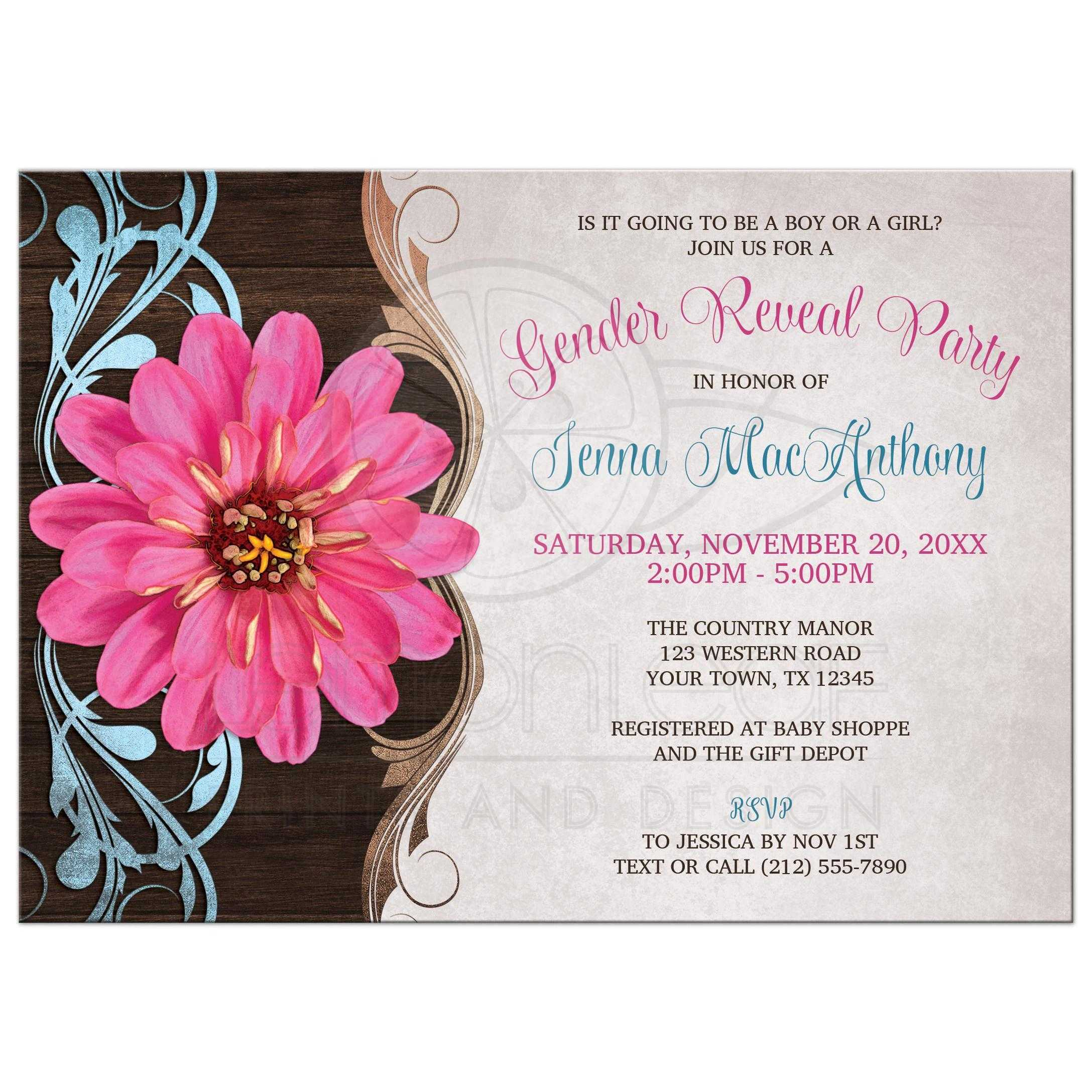 Gender Reveal Party Invitations Rustic Country Pink Zinnia