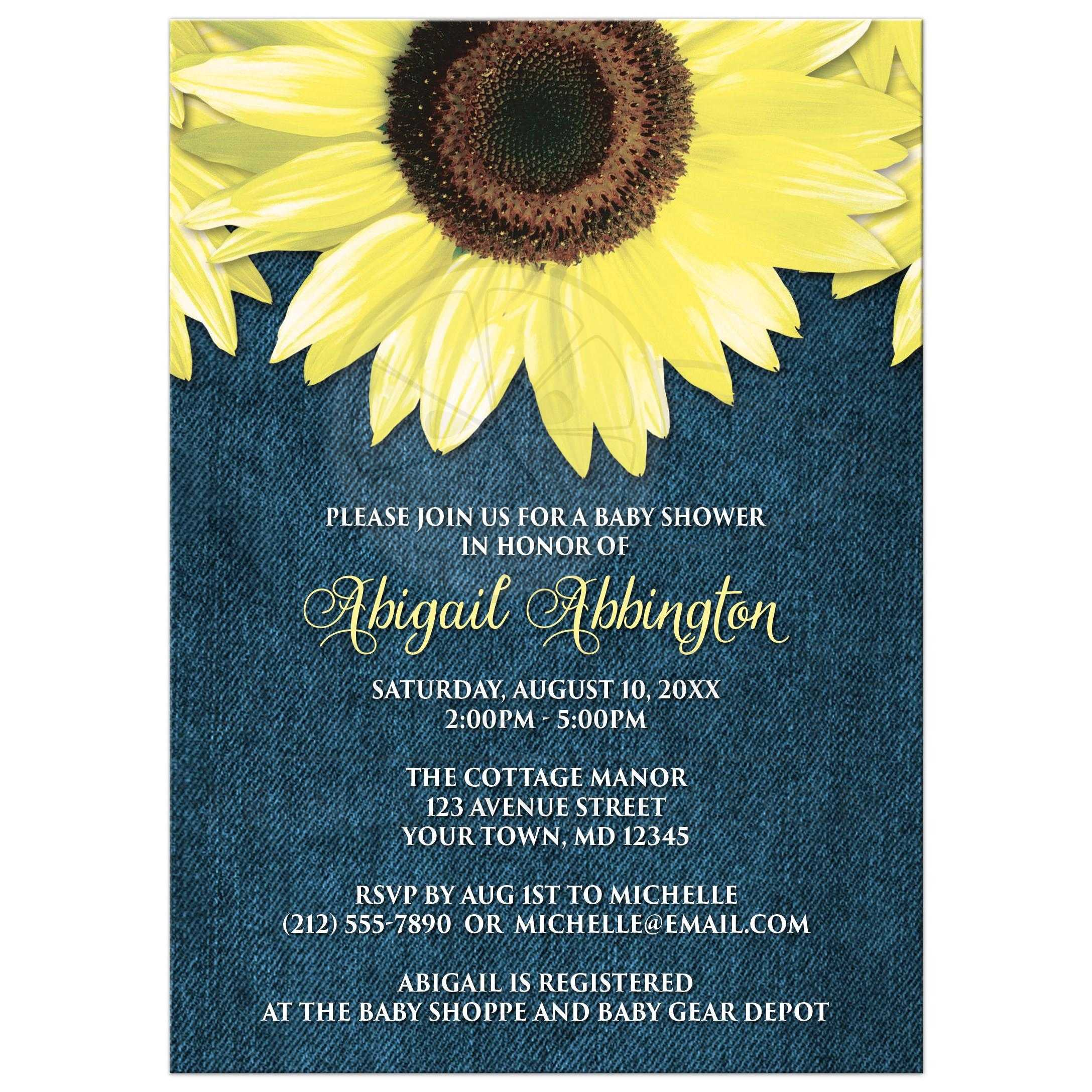 Shower Invitations Rustic Sunflower Denim