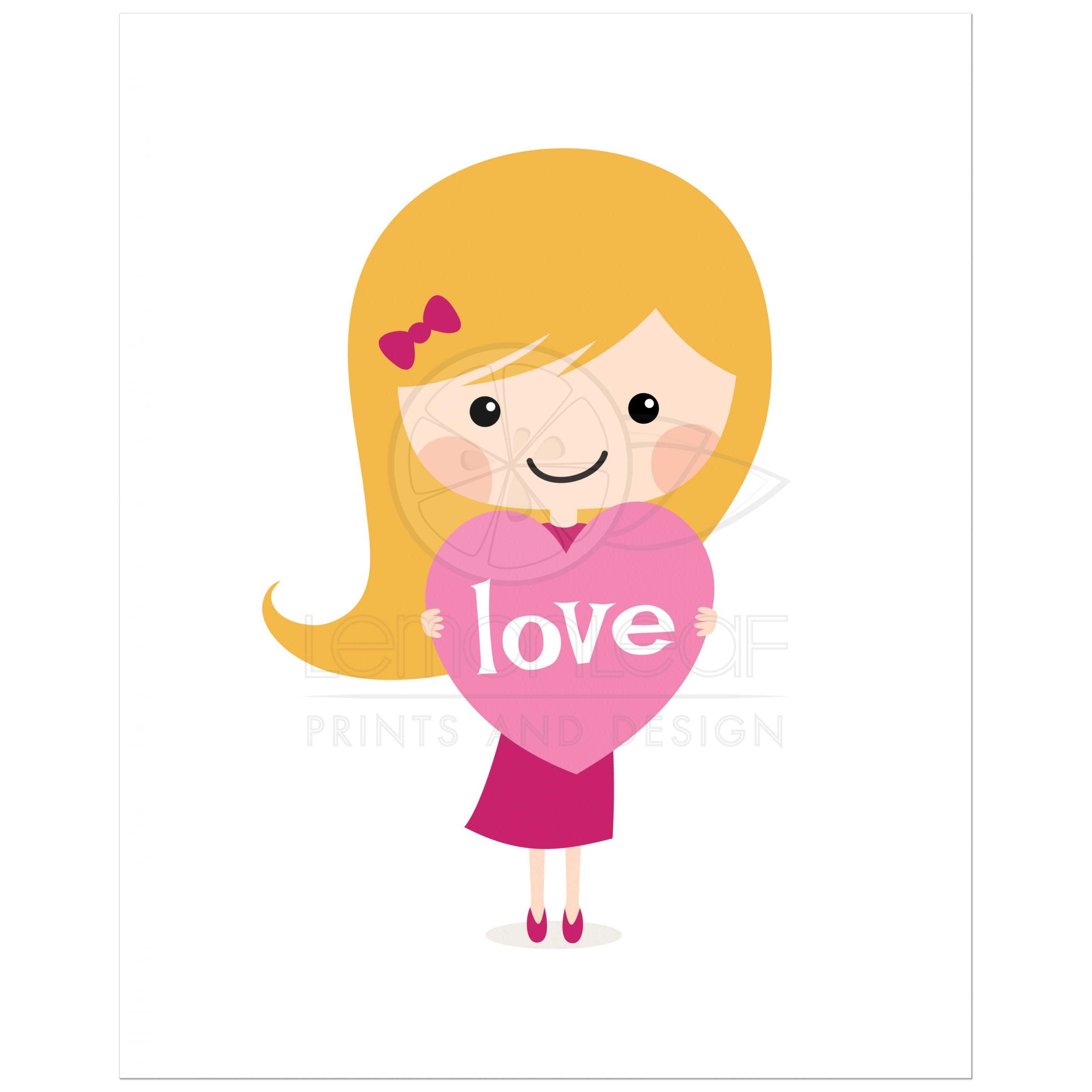 Designer Wall Stickers Blond Girl With Love Heart Cute Nursery Wall Art Print