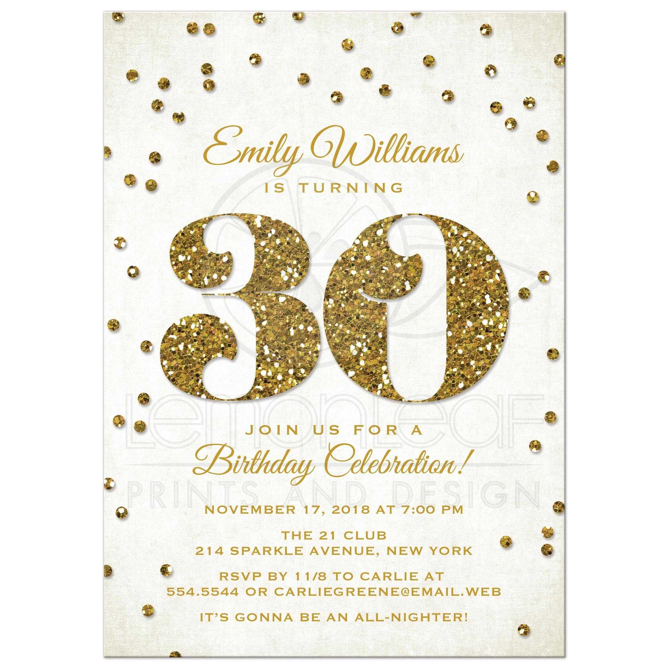 30th Birthday Party Invitations - Gold Glitter Look Confetti