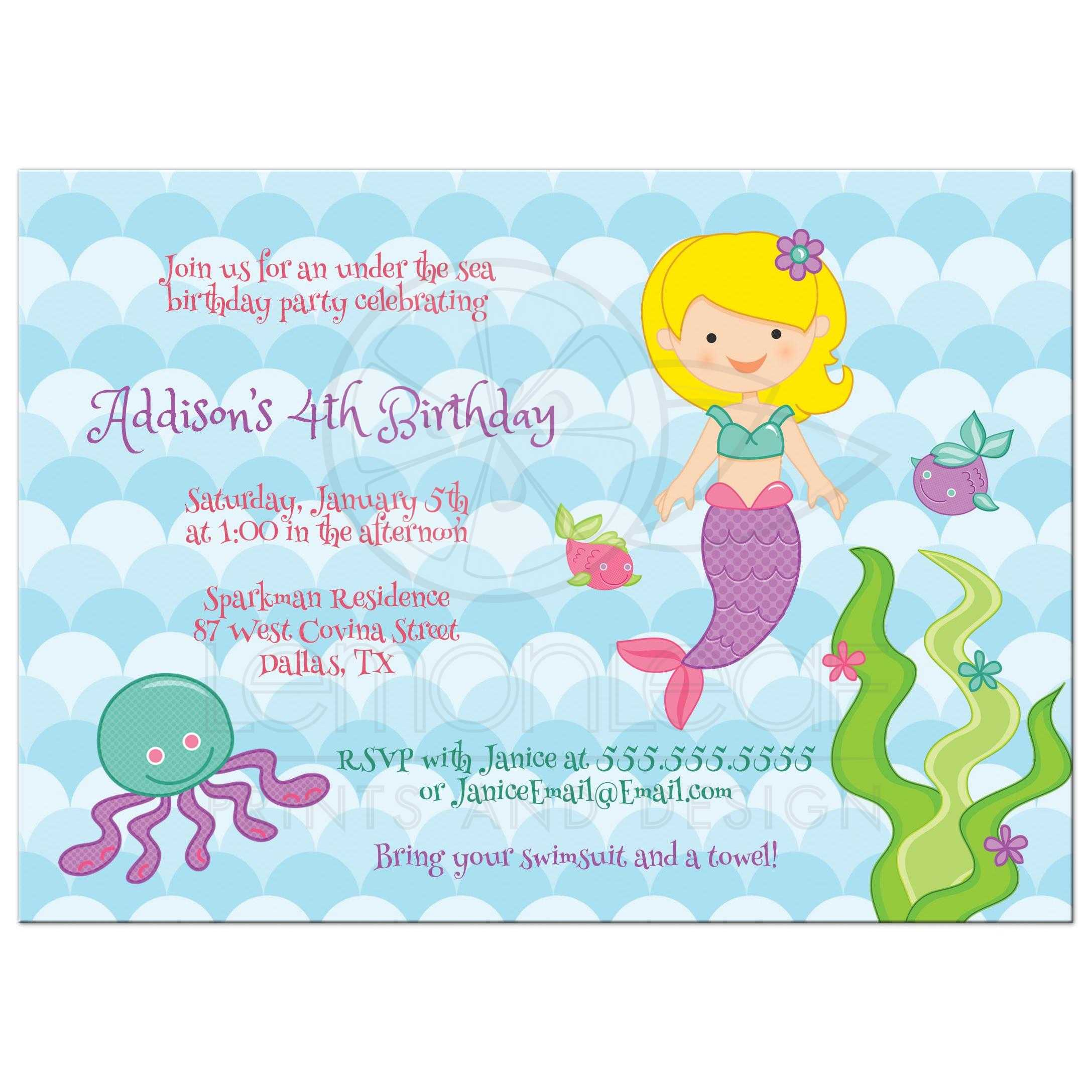 birthday party invitation under the sea mermaid with blonde hair