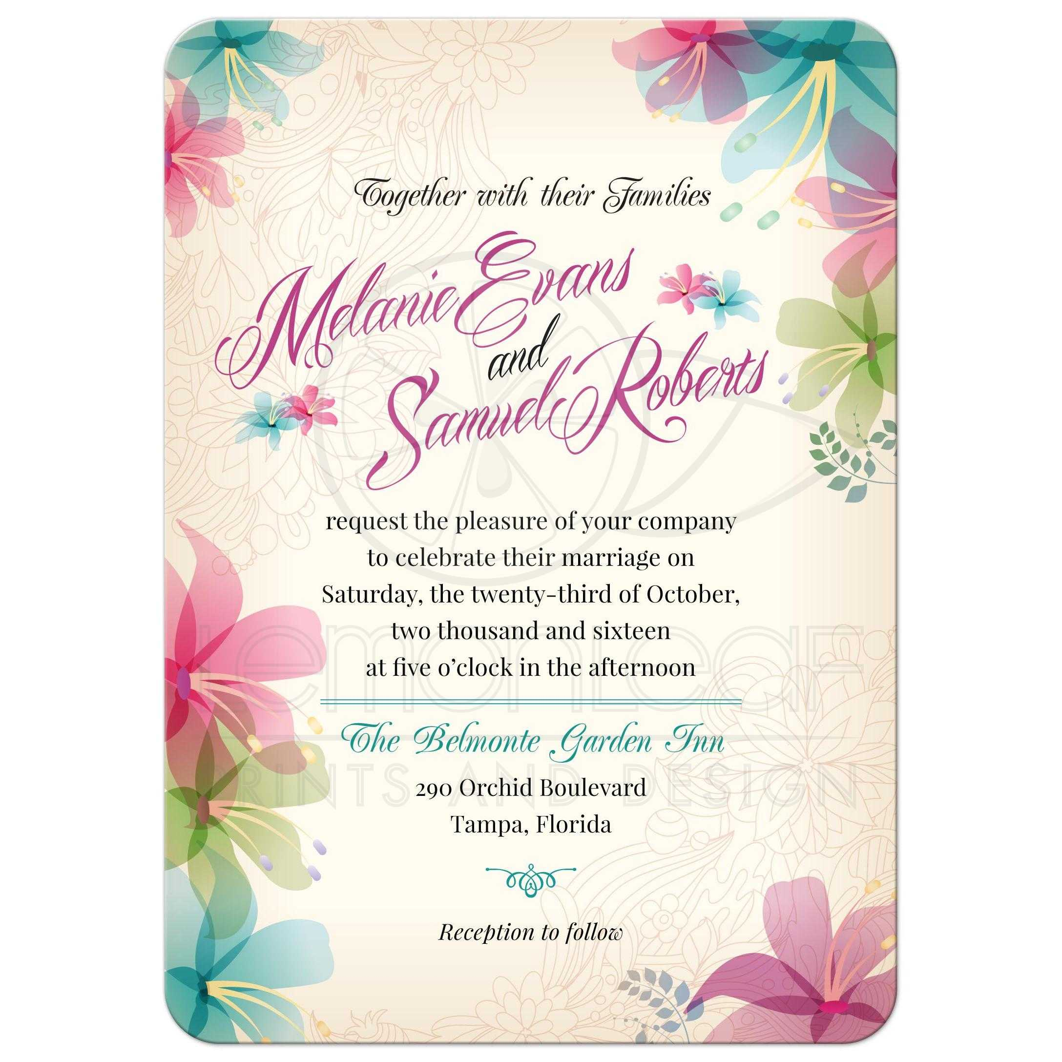 Wedding invitation - Tropical Floral Soft Pink Teal Orchids