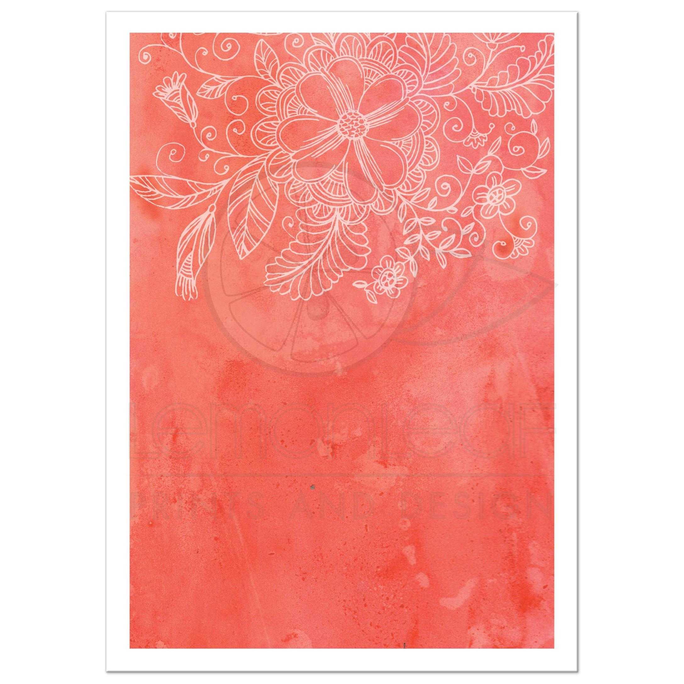 Wedding invitation - Outlined Floral Orange Watercolor