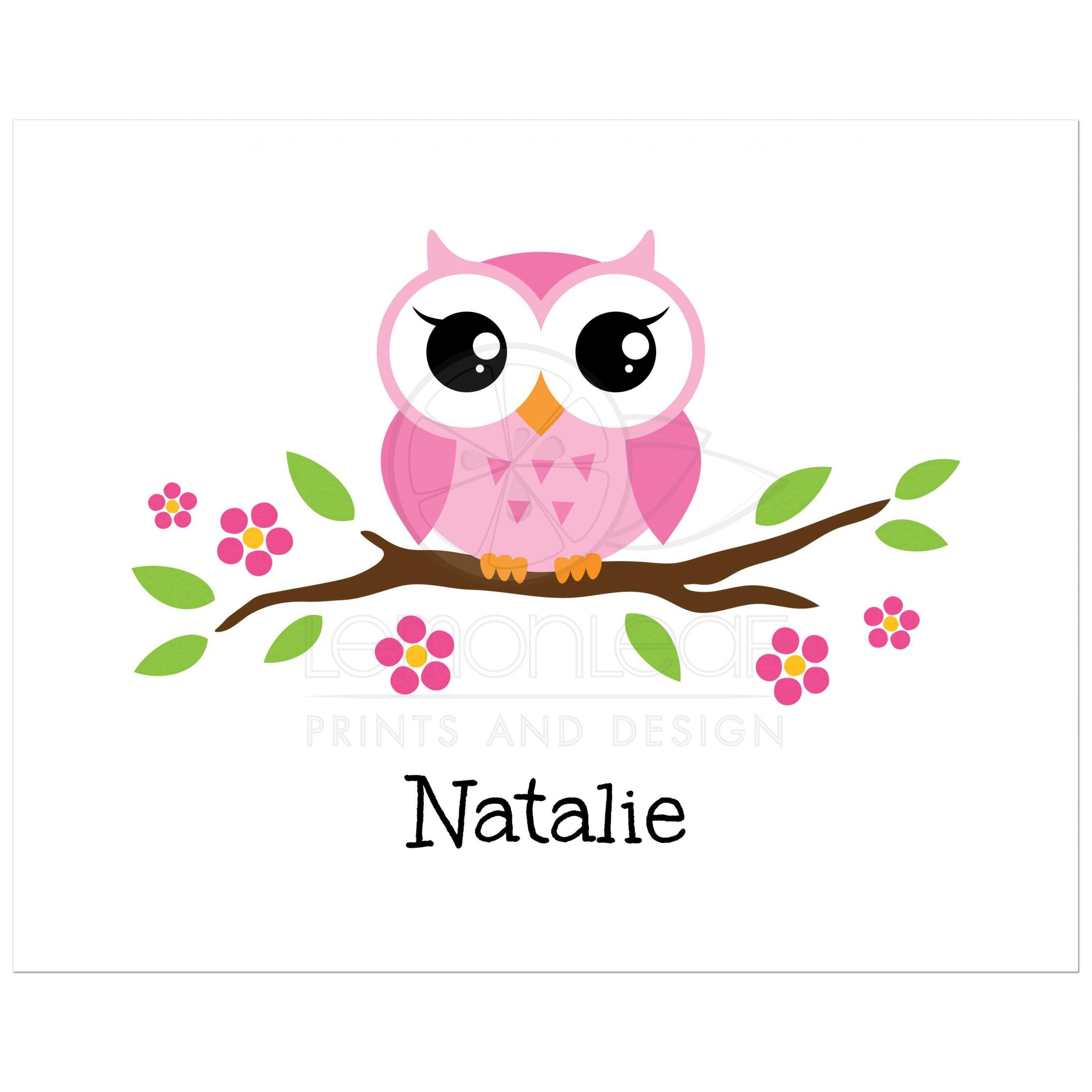 OWL CUTE OWL PERSONALISED NAME CHILDRENS OR ADULT BIRTHDAY BADGE